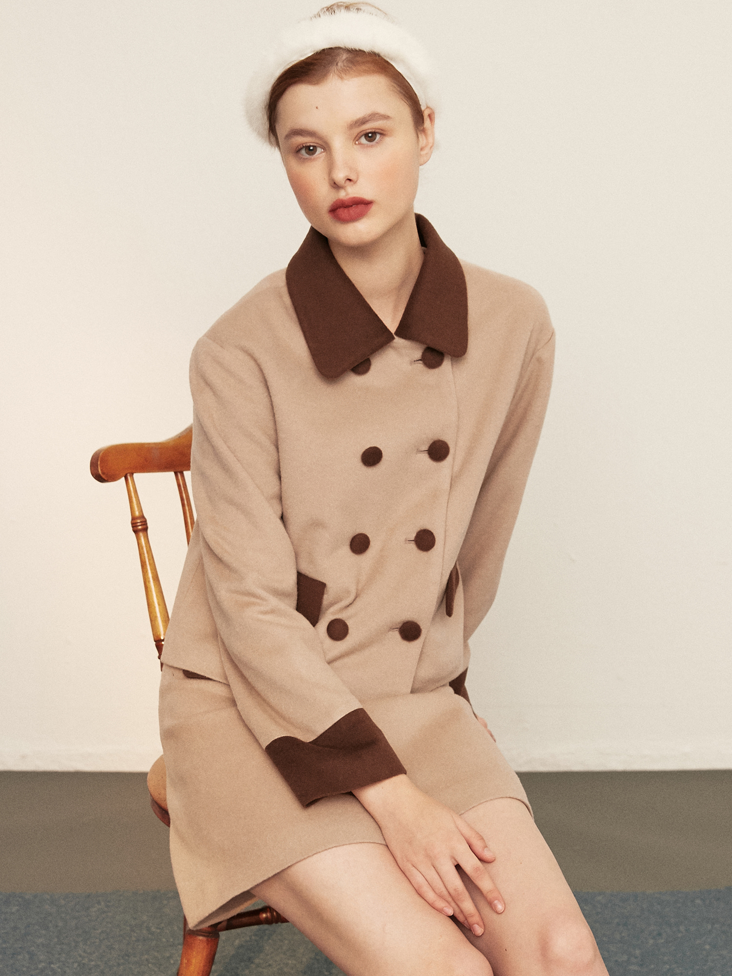 double button wool jacket_brown