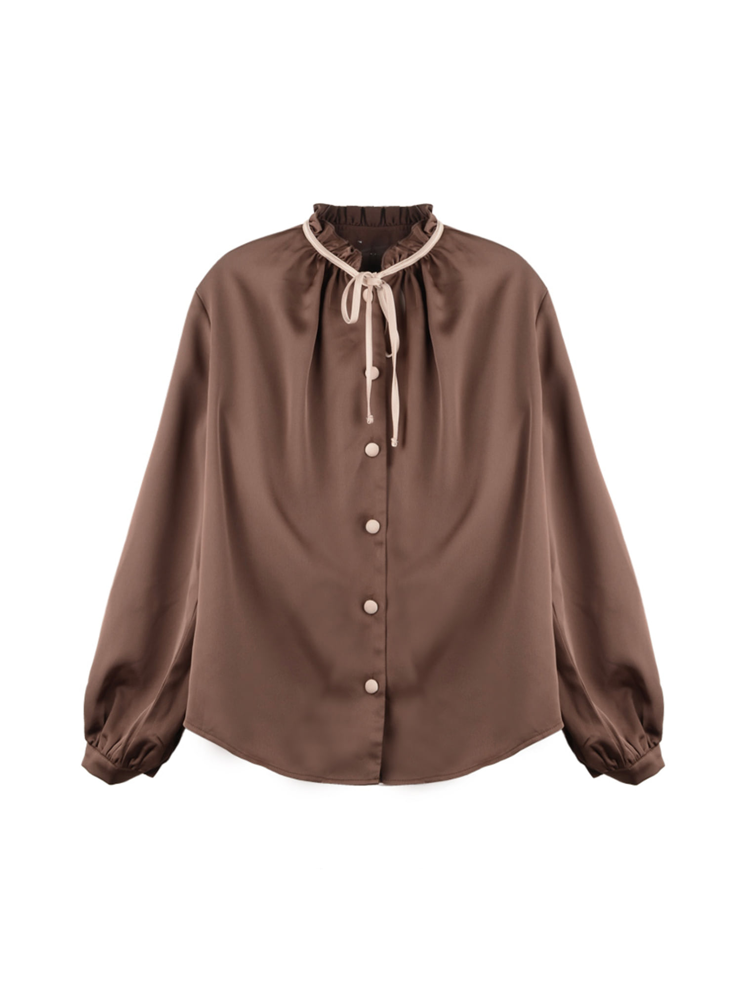 Neck shirring blouse_brown