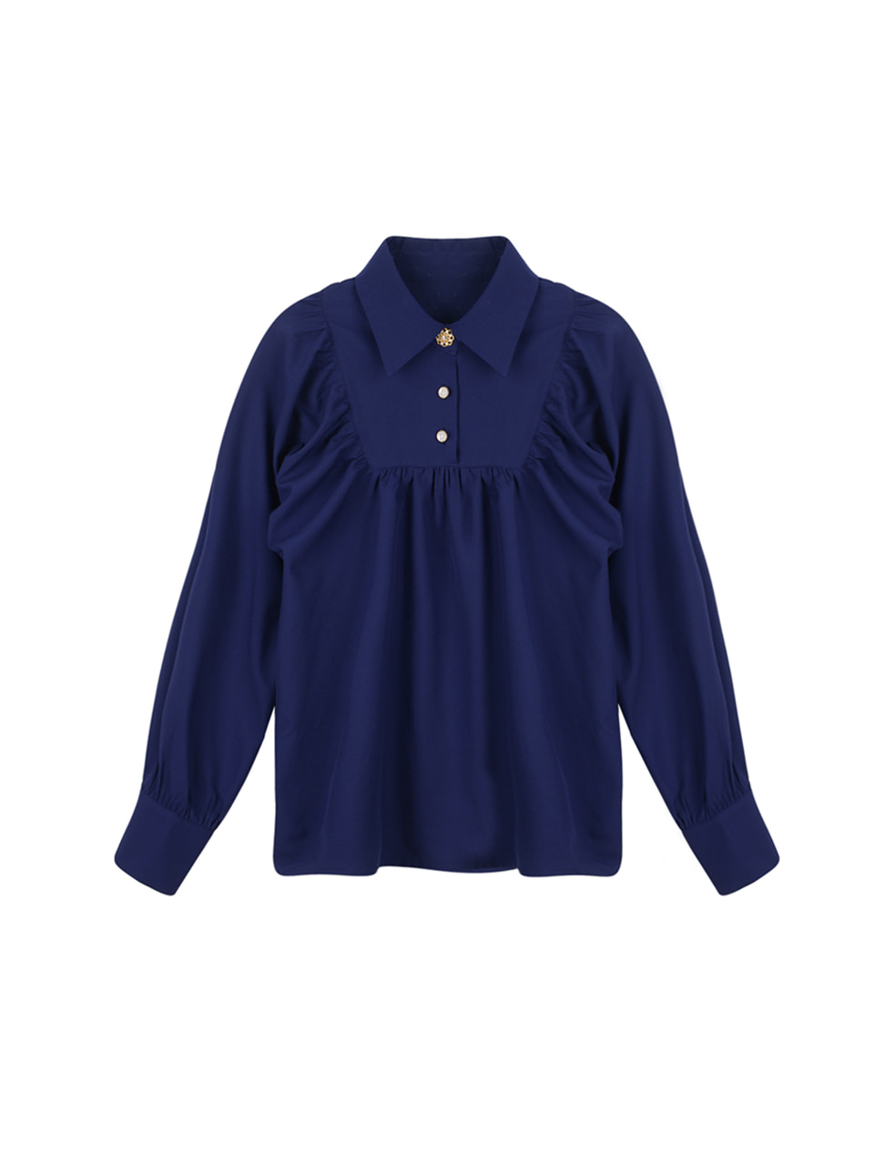 Square shirring blouse_navy