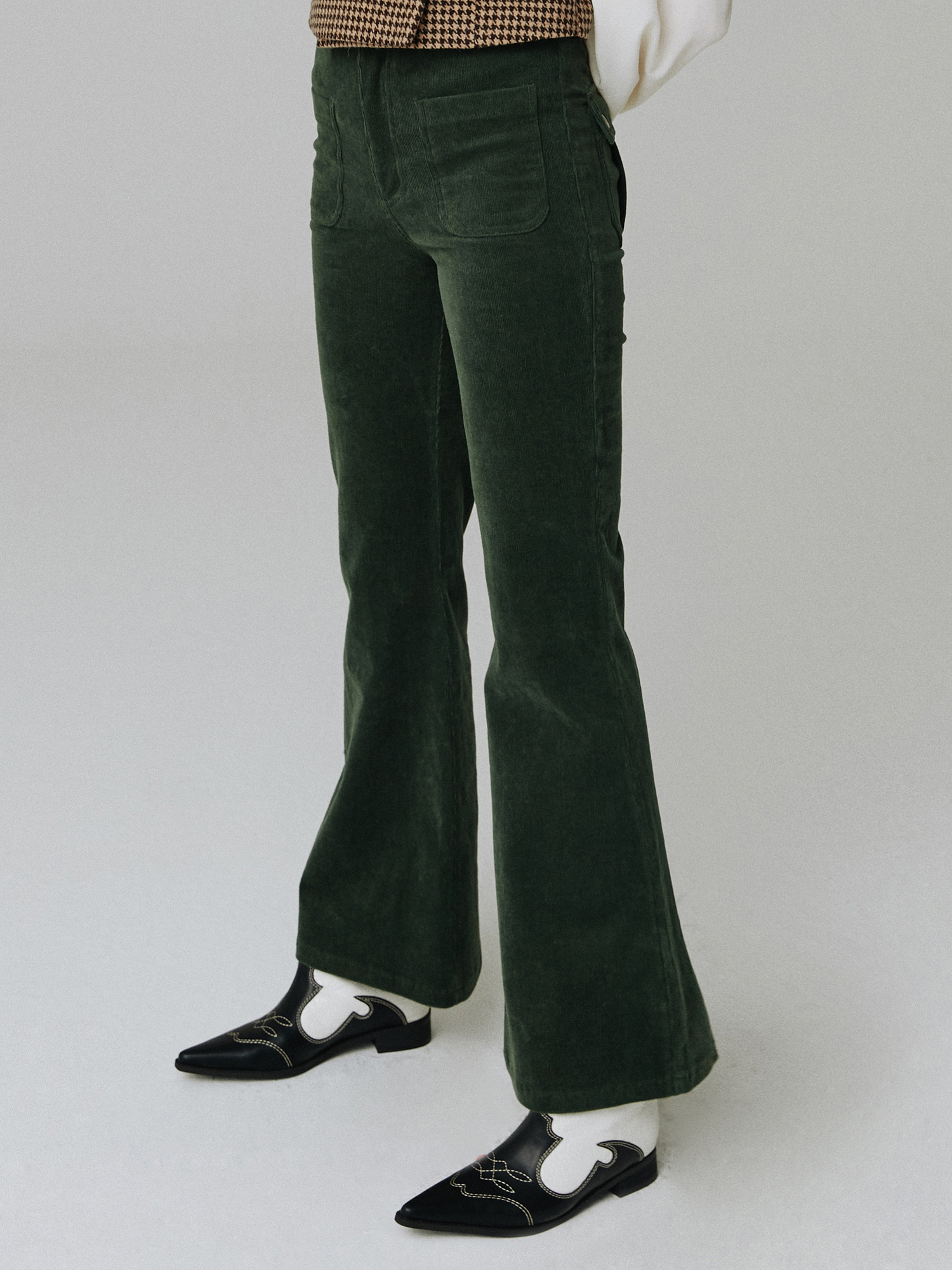 Corduroy pocket pants_green