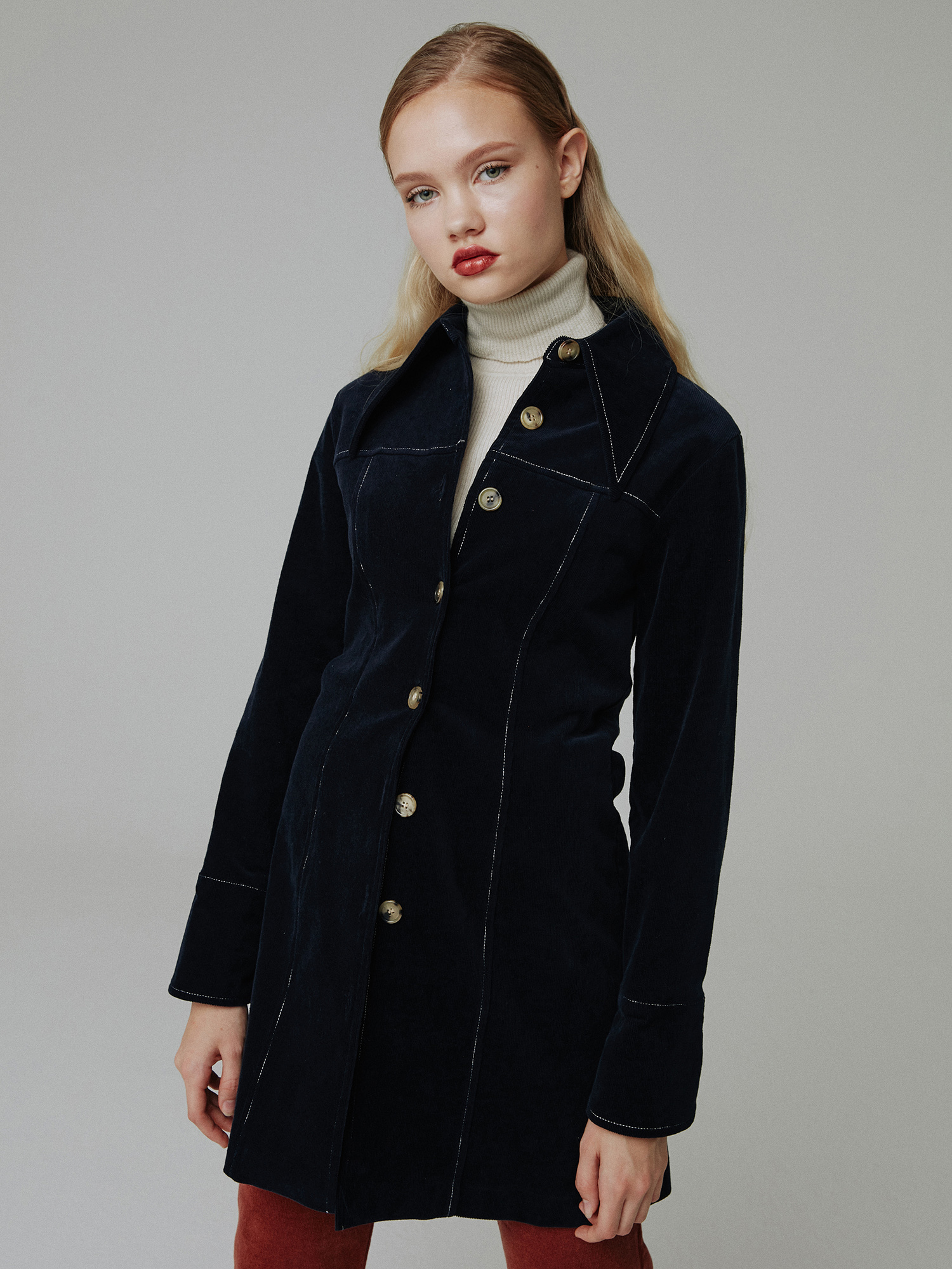 Corduroy stitch one-piece_navy