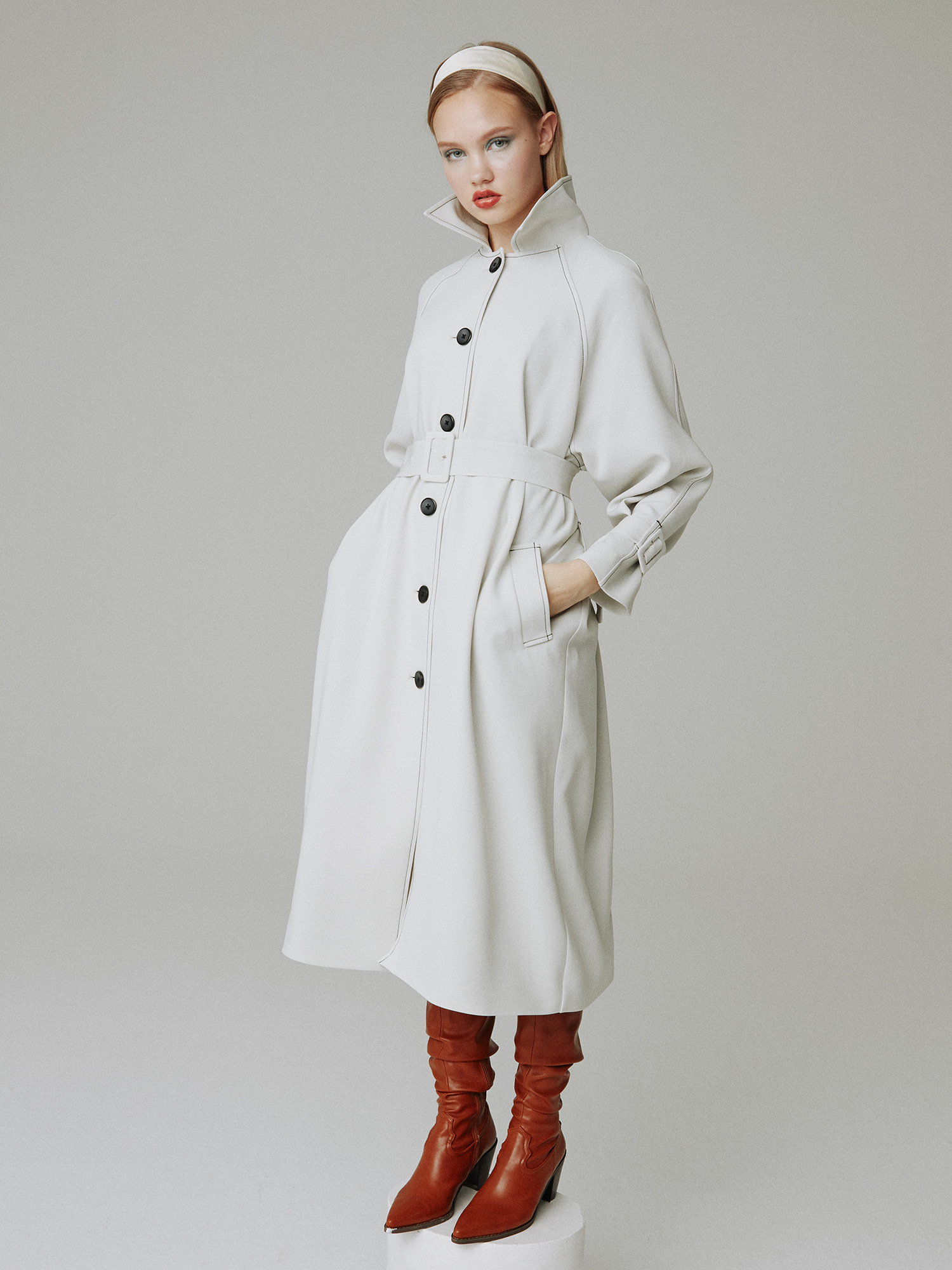 Stitch trench coat_light grey
