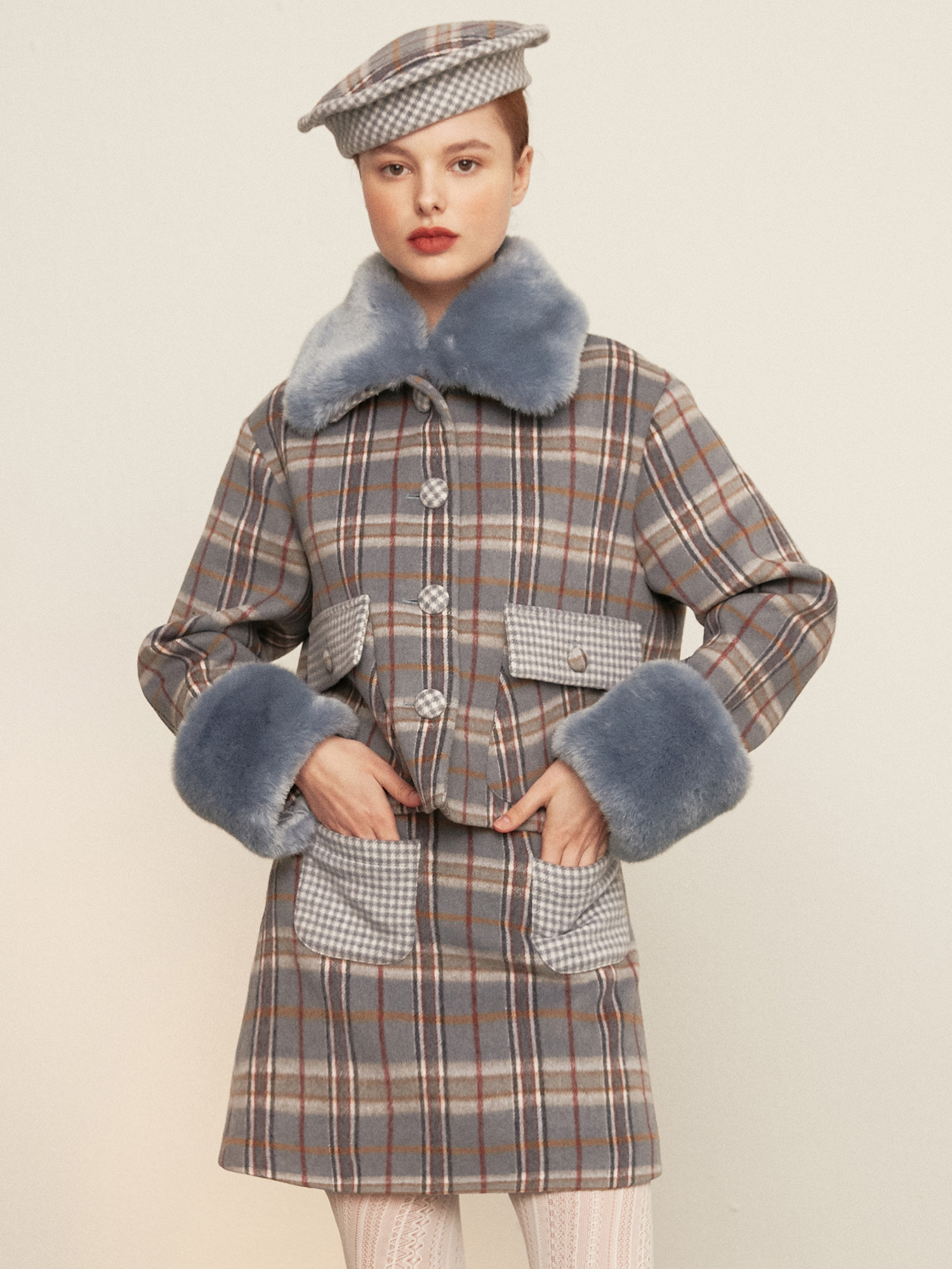 [SOLD OUT] check fur jacket_skyblue