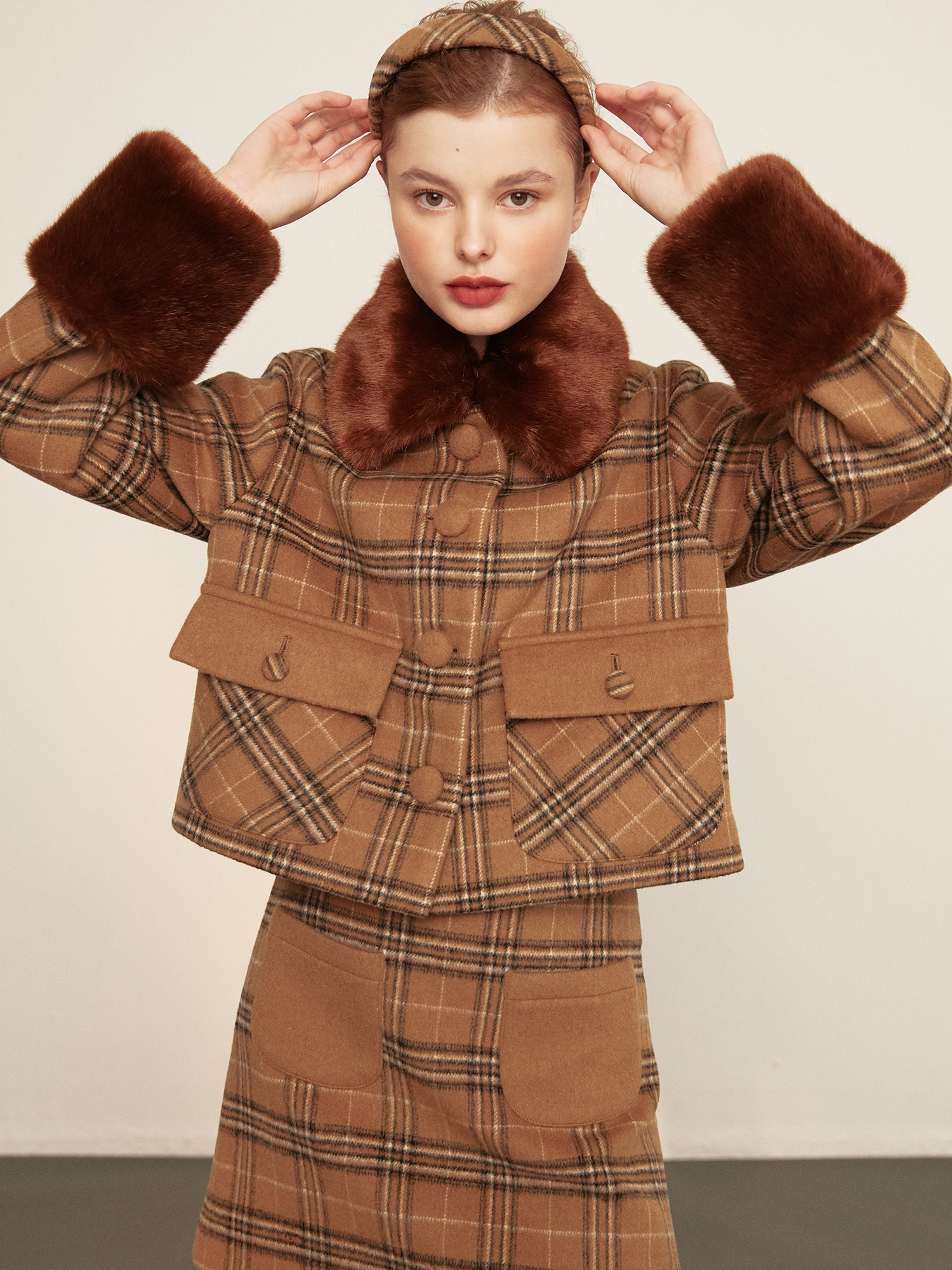 [SOLD OUT] check fur jacket_brown