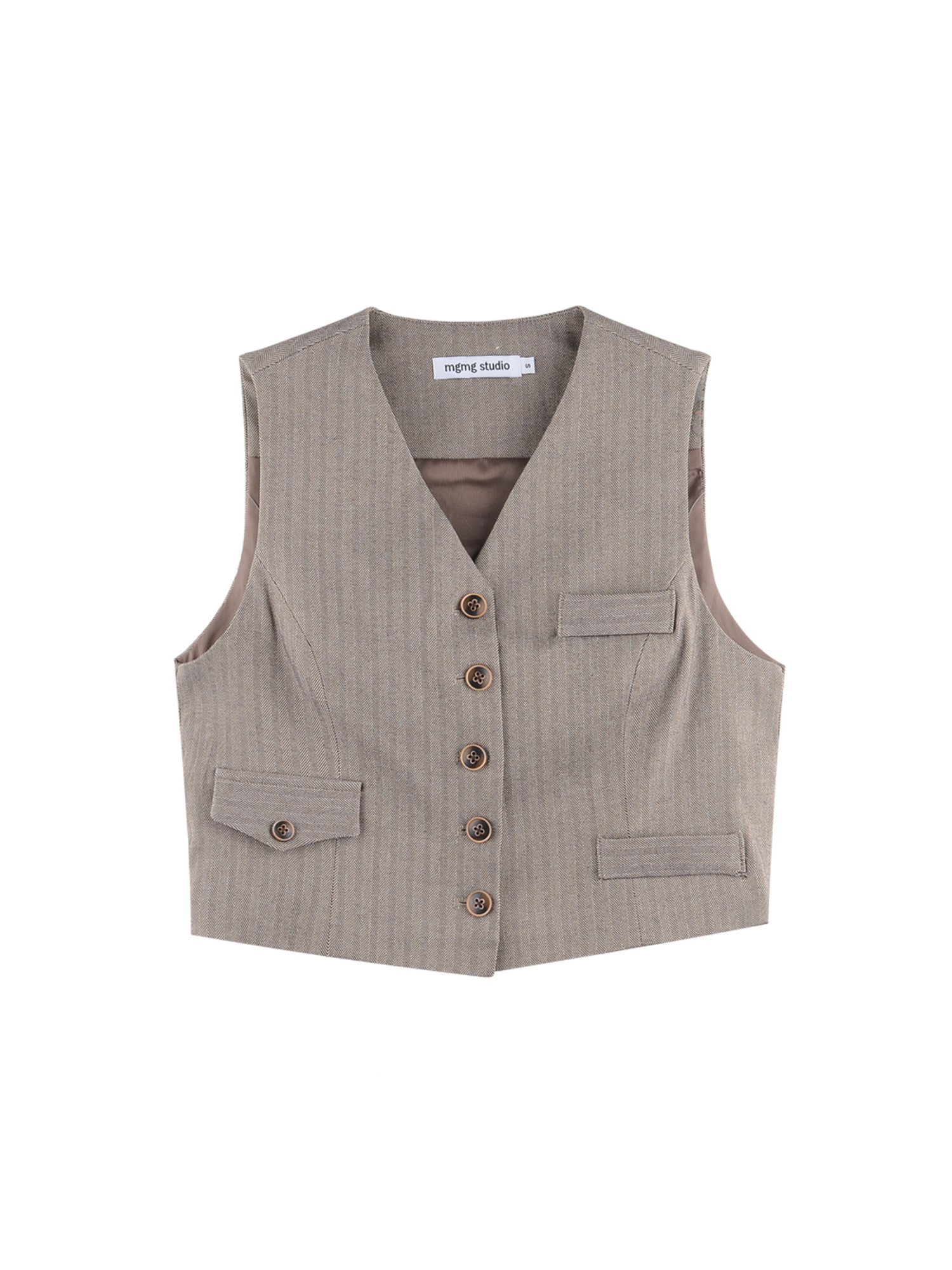 Herringbone vest_brown