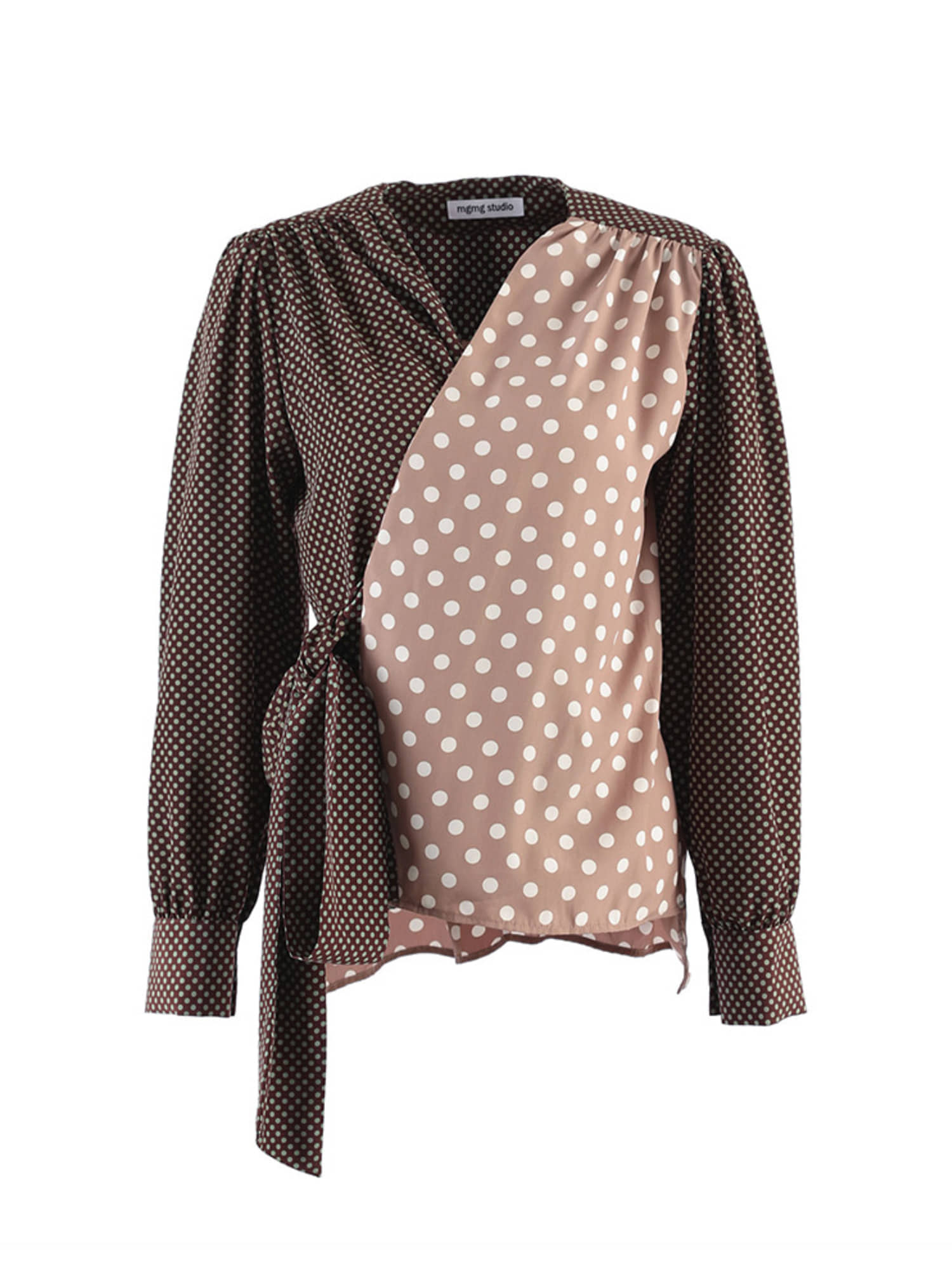 mgmg mixed dot wrap blouse_light grey