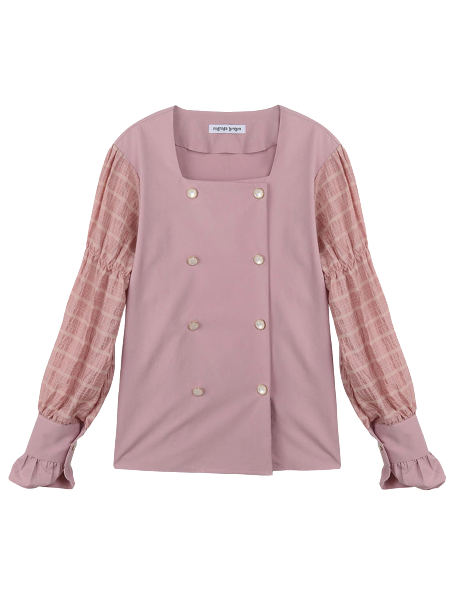 double button blouse_pink