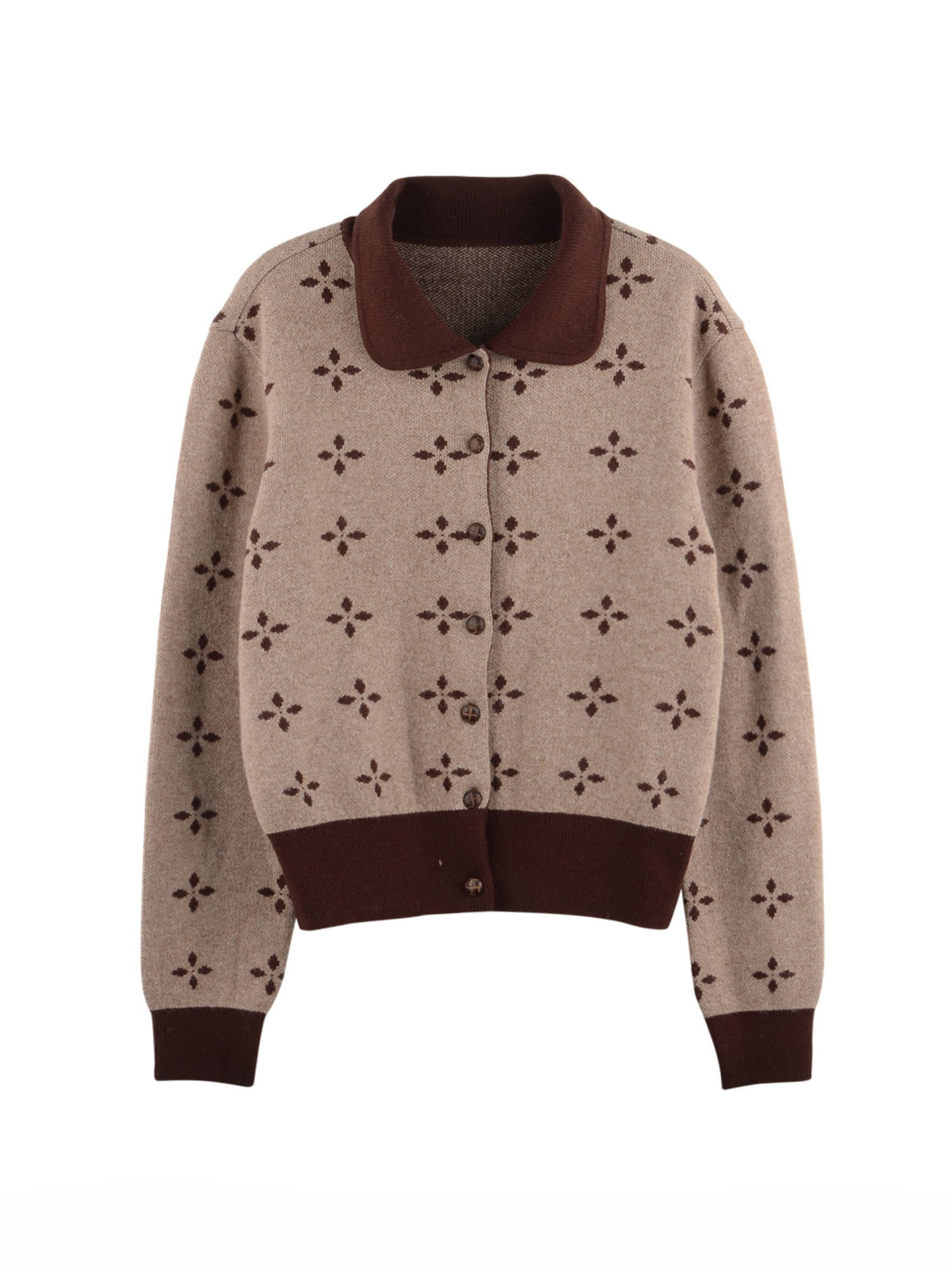 round collar knit cardigan_brown