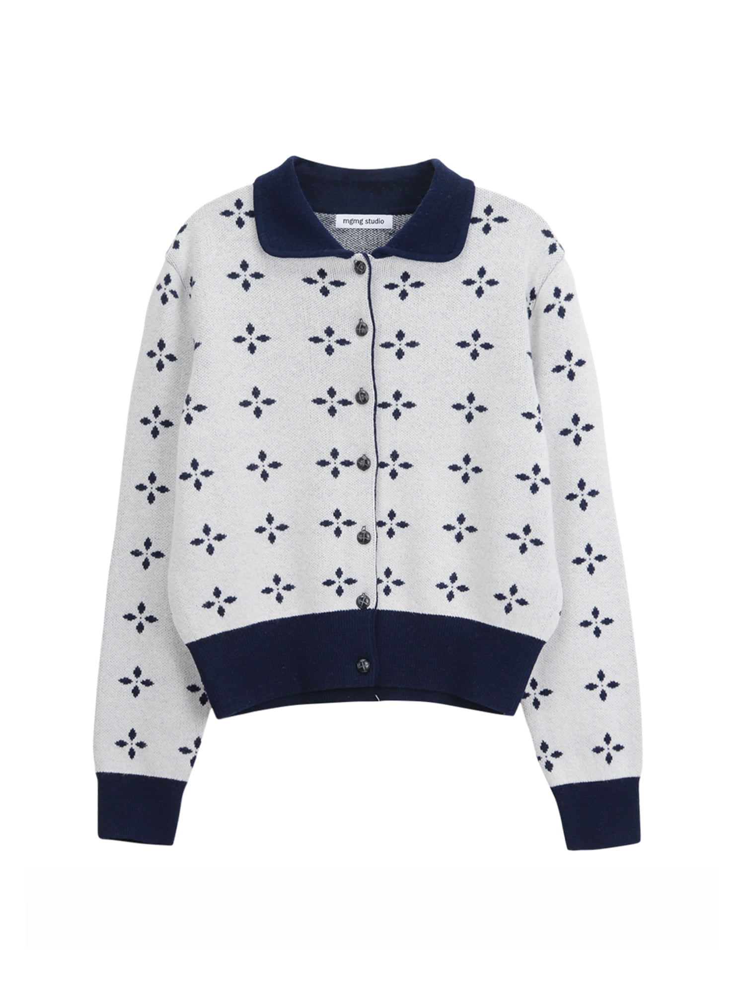 round collar knit cardigan_navy