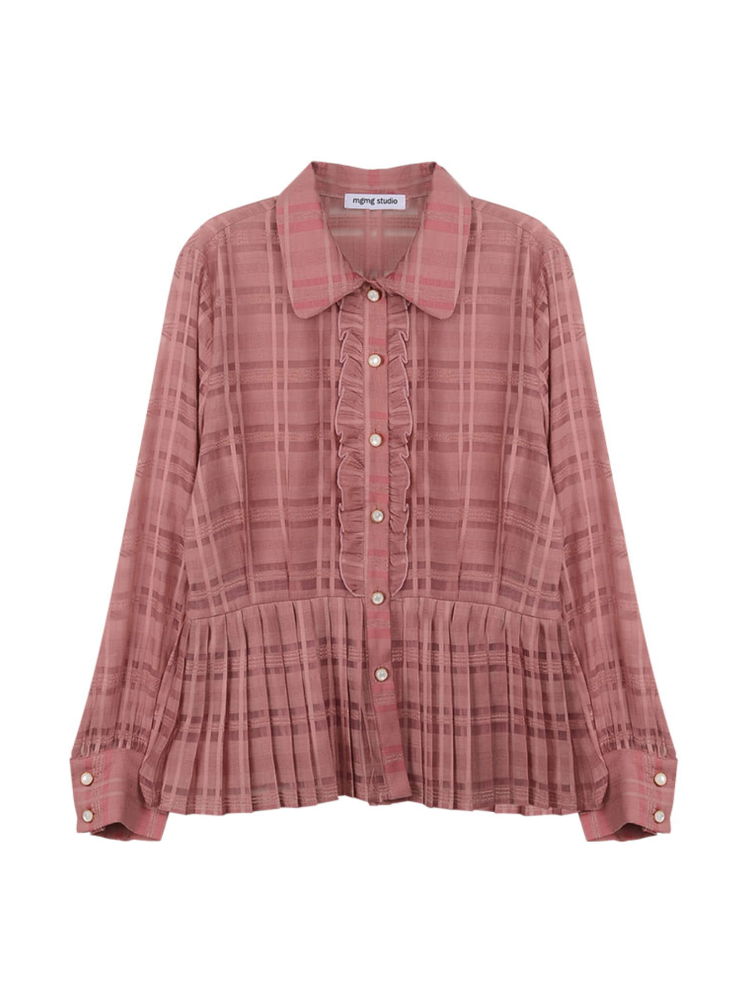 check pleats blouse_pink