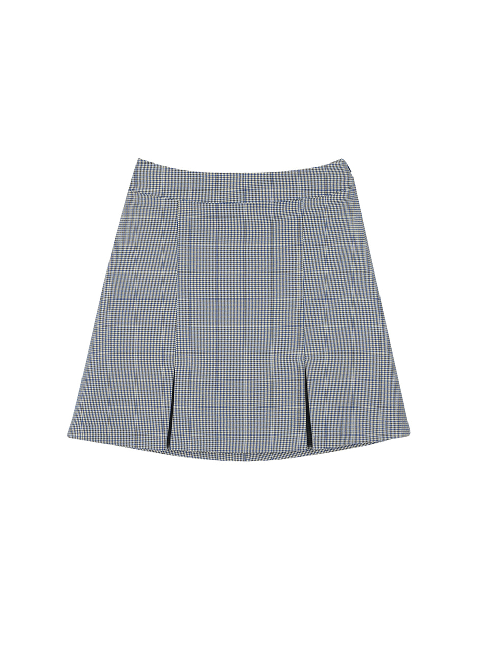 Houndtooth check skirt_blue