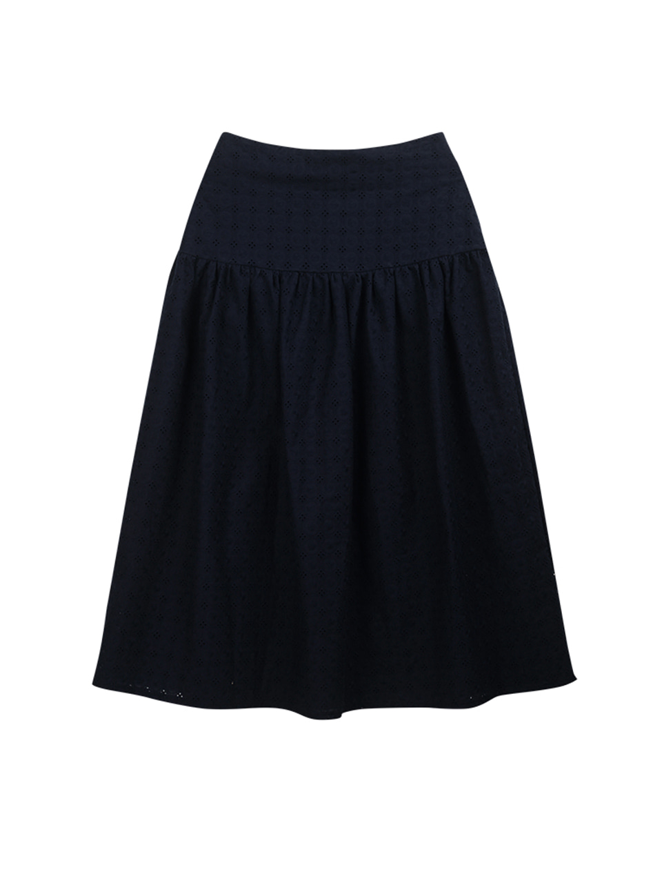 Lace shirring long skirt_navy