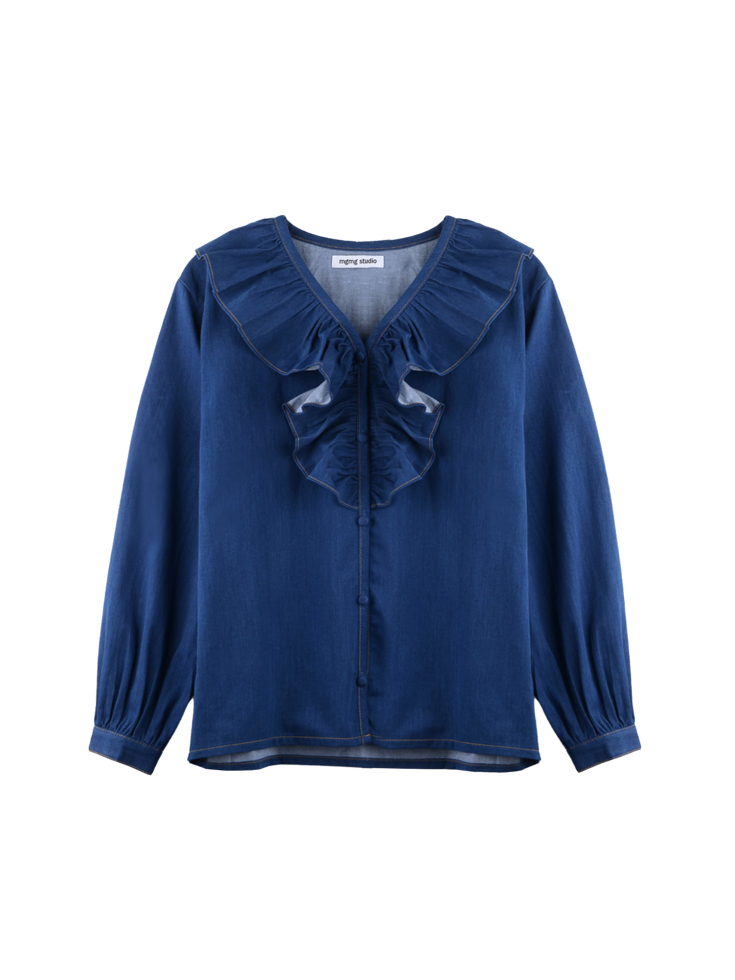 Denim ruffle blouse_blue