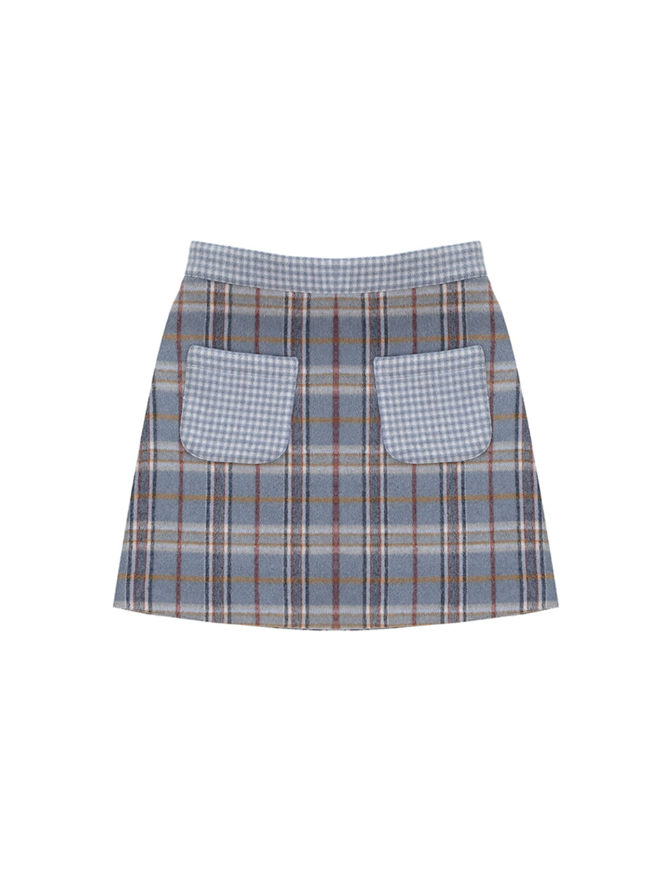 wool check pocket skirt_skyblue
