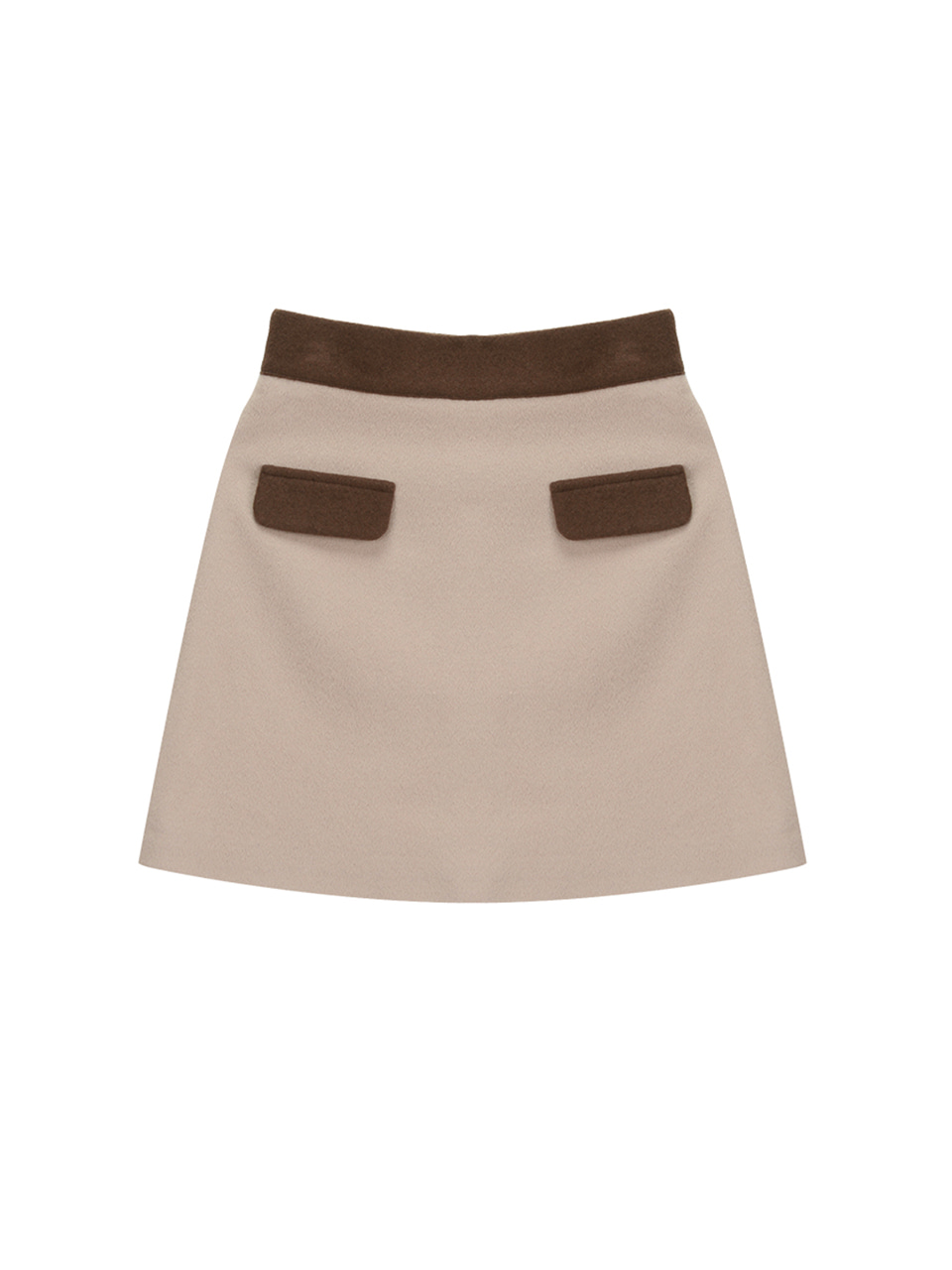 wool pocket skirt_brown