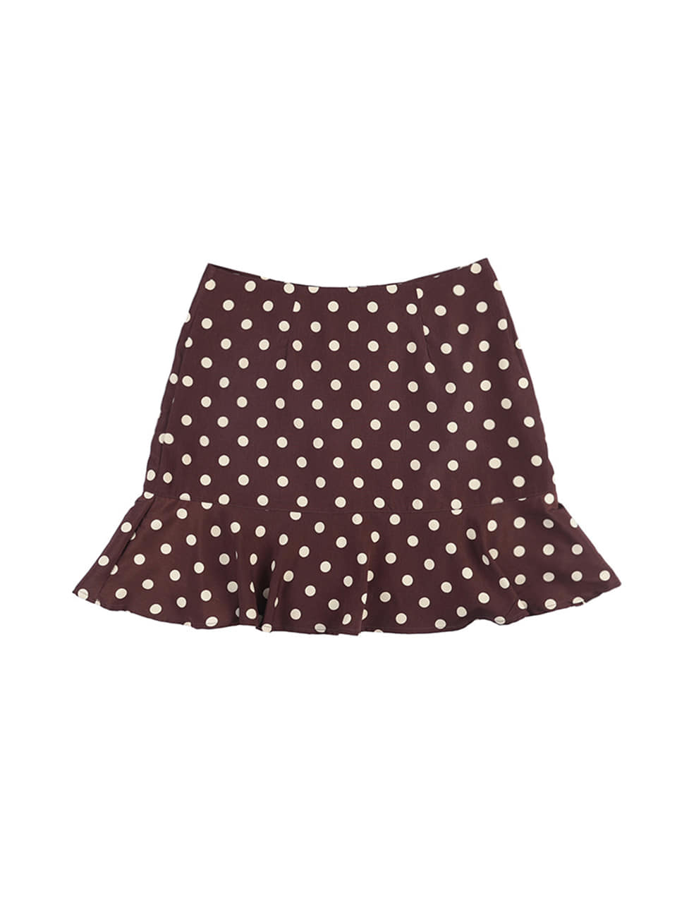 mgmg dot ruffle skirt_brown