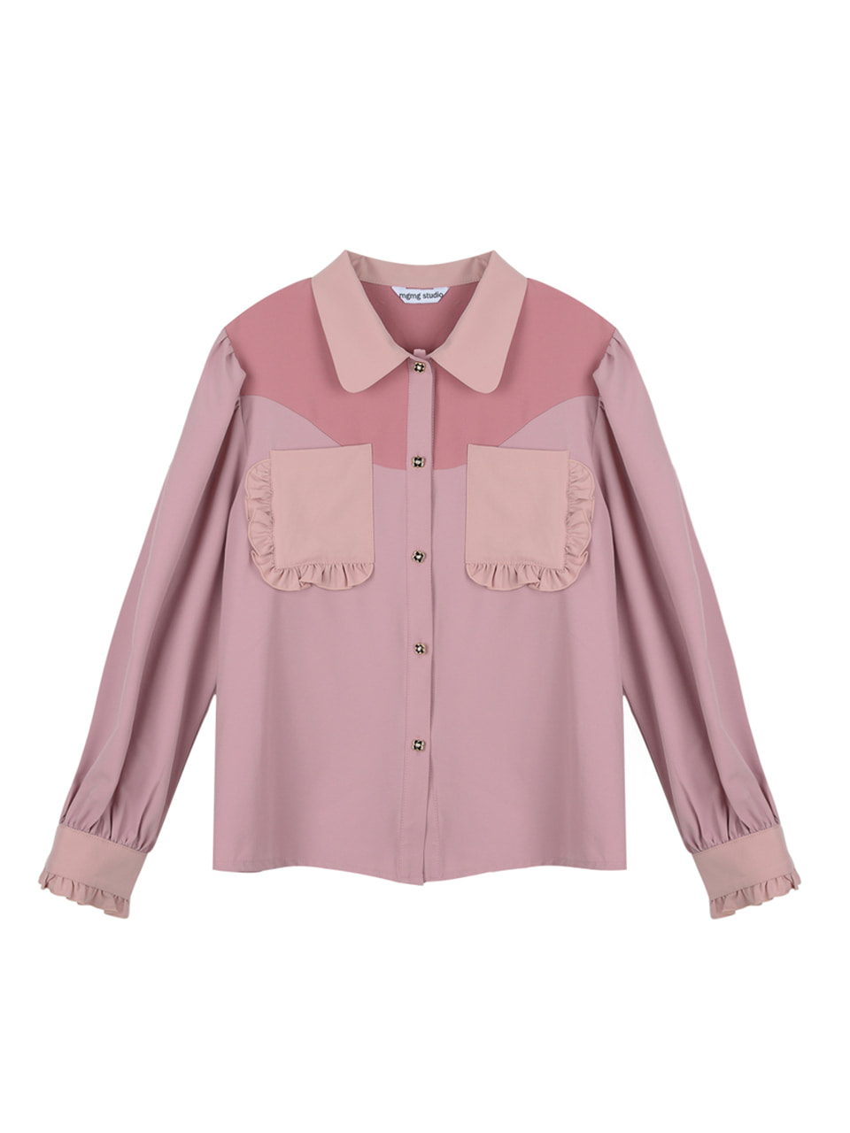 Pocket ruffle blouse_pink