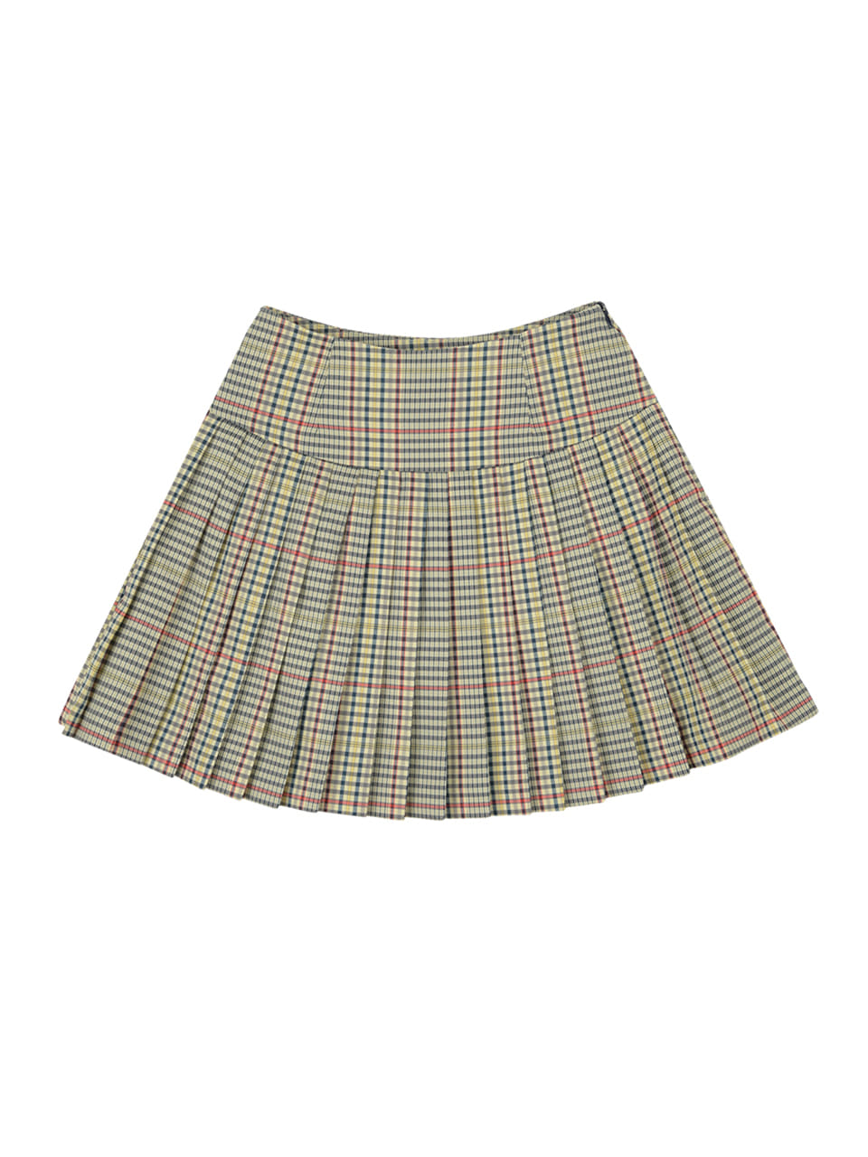 Check pleats skirt_olive