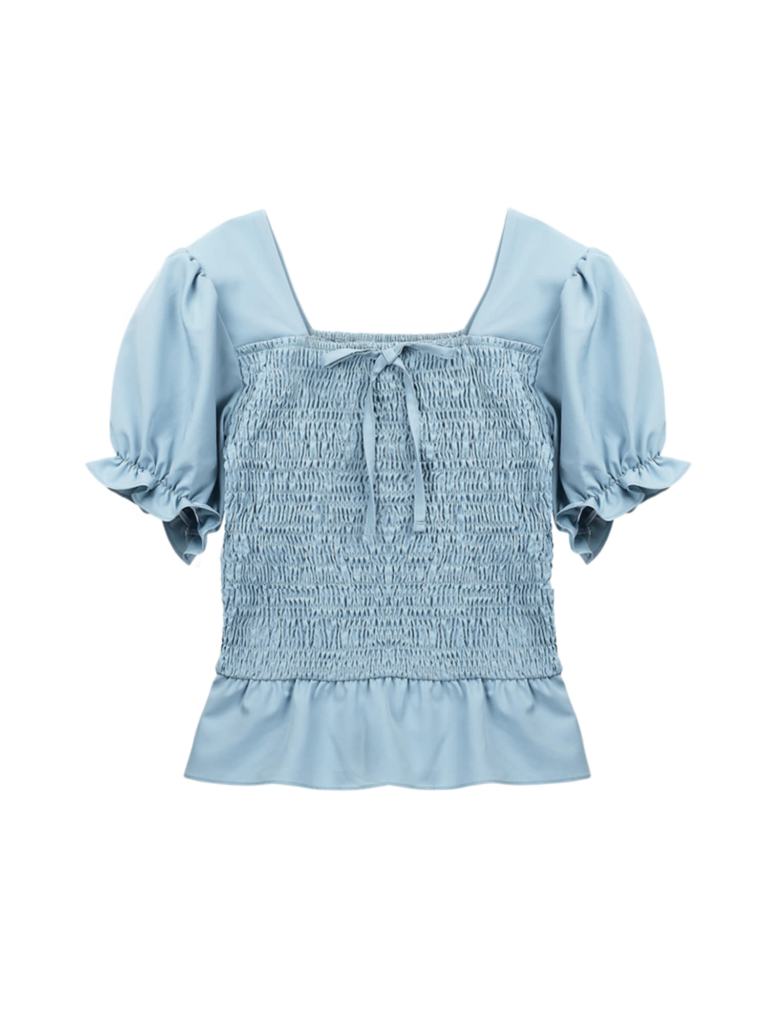 Smoke ribbon blouse_skyblue