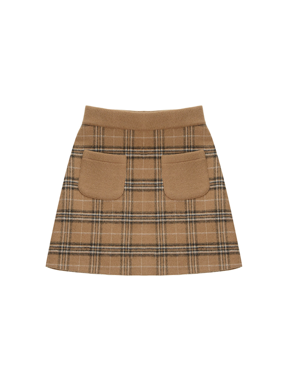 wool check pocket skirt_brown