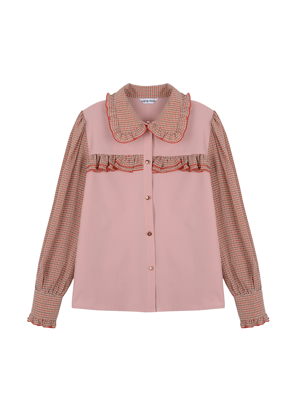Check frill blouse_pink