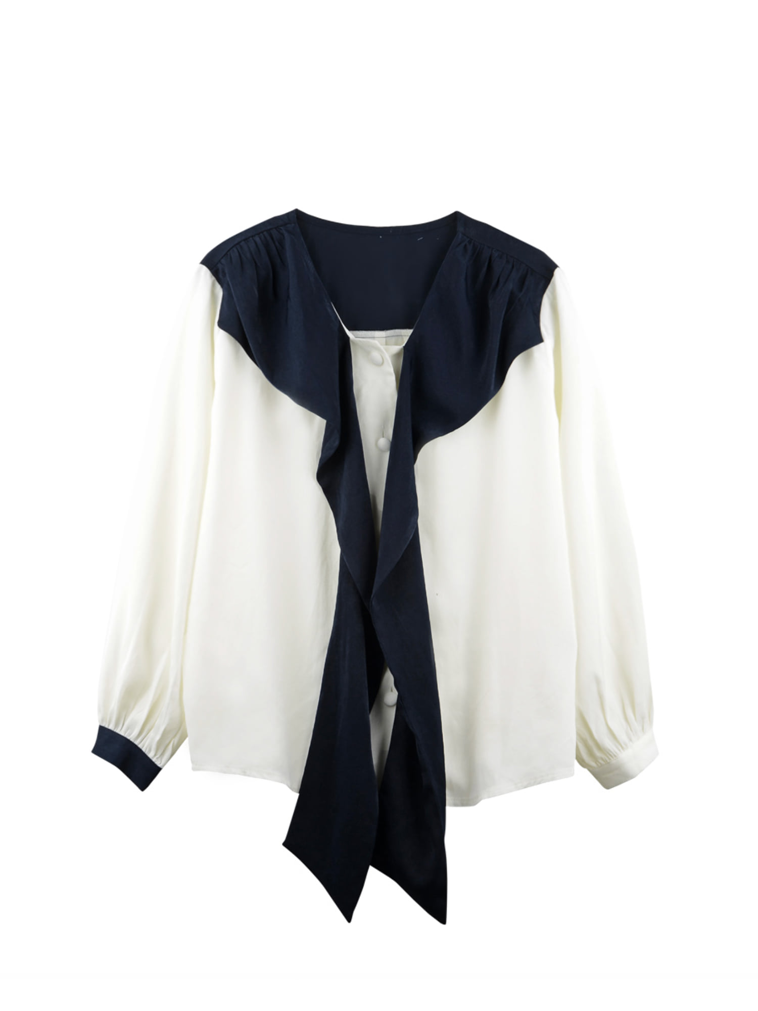 Tie ribbon blouse_navy