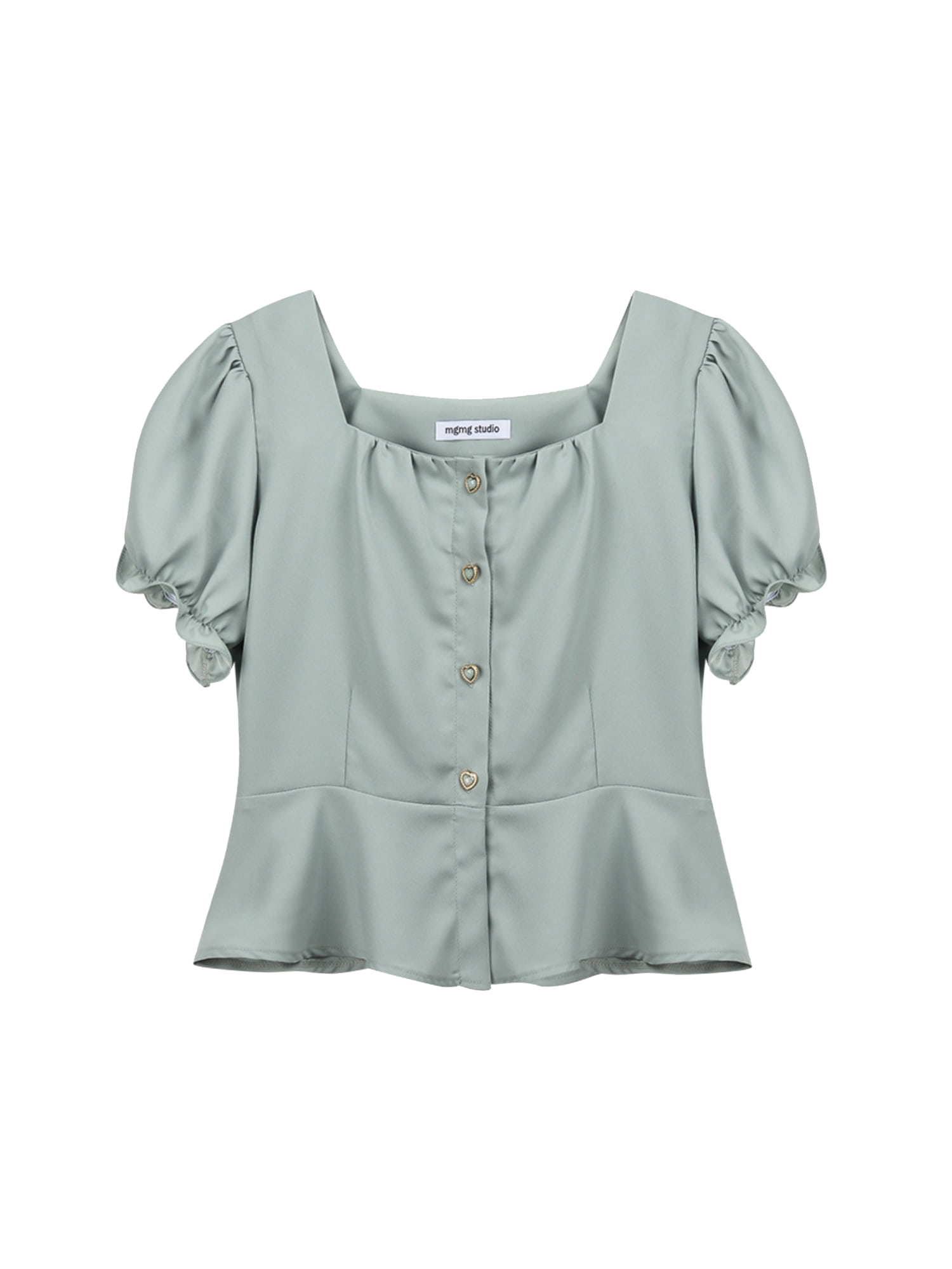 Square neck shirring blouse_mint