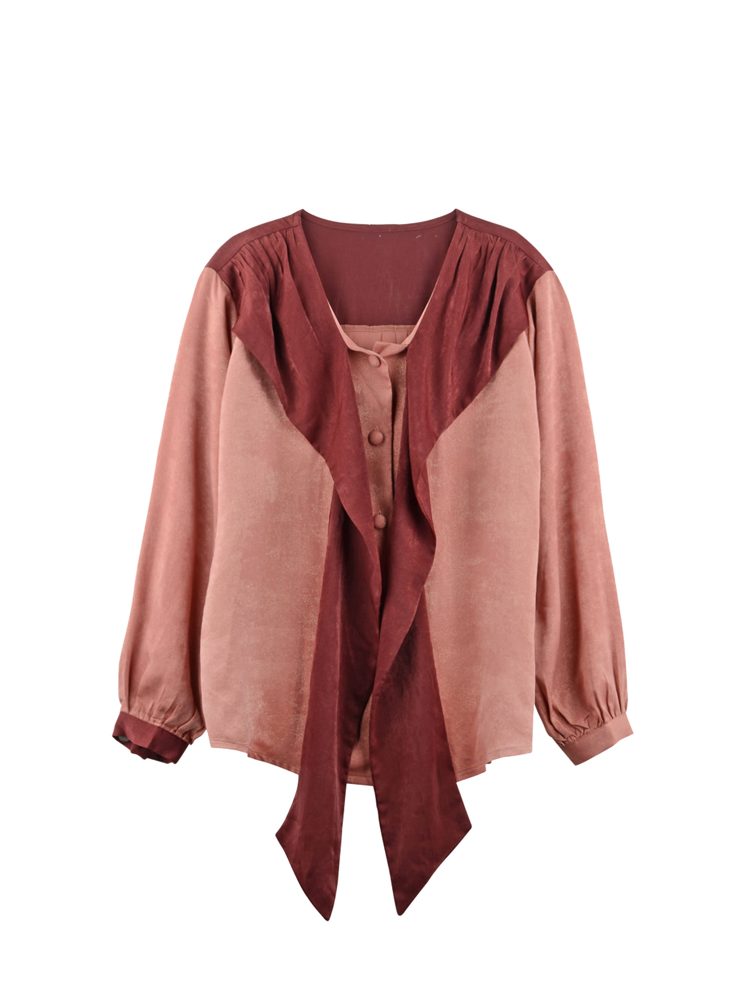 Tie ribbon blouse_wine
