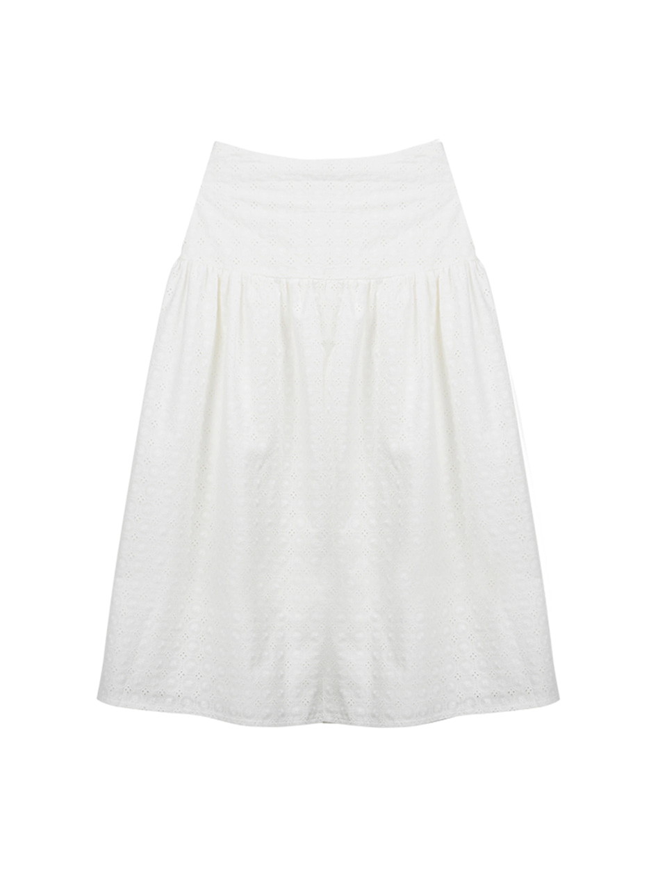 Lace shirring long skirt_white