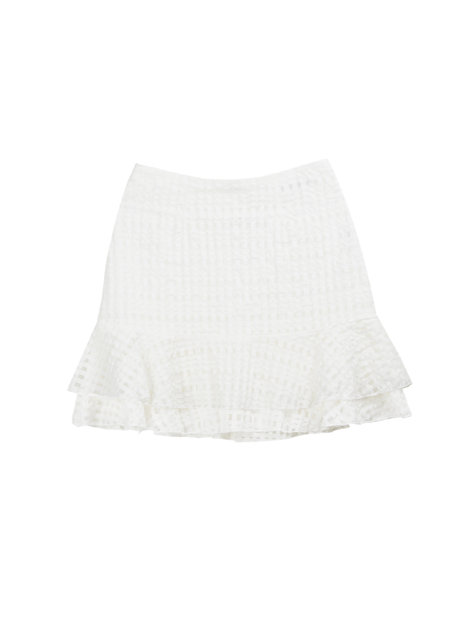 Check layered skirt_white