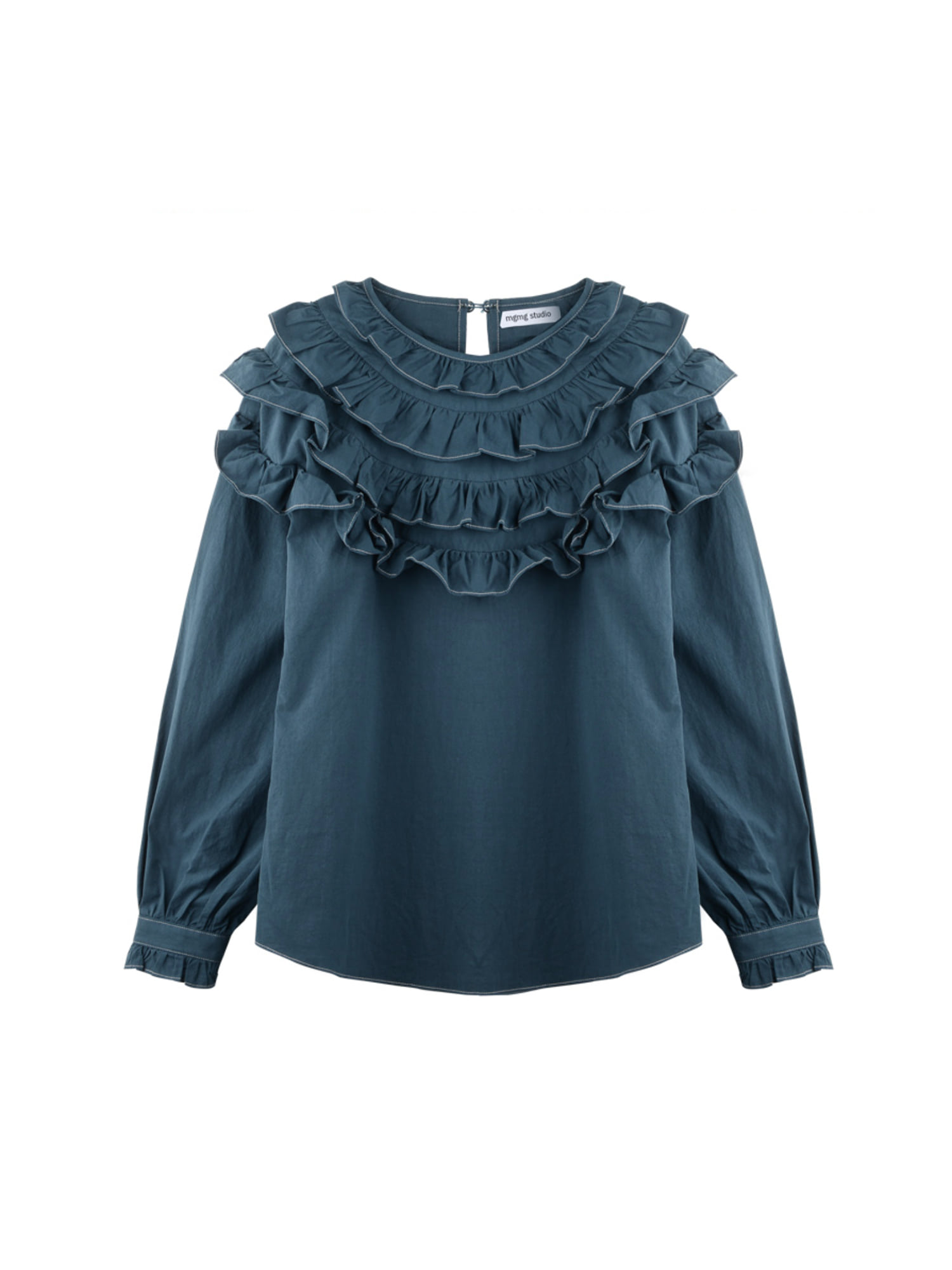 Round ruffle blouse_deep green