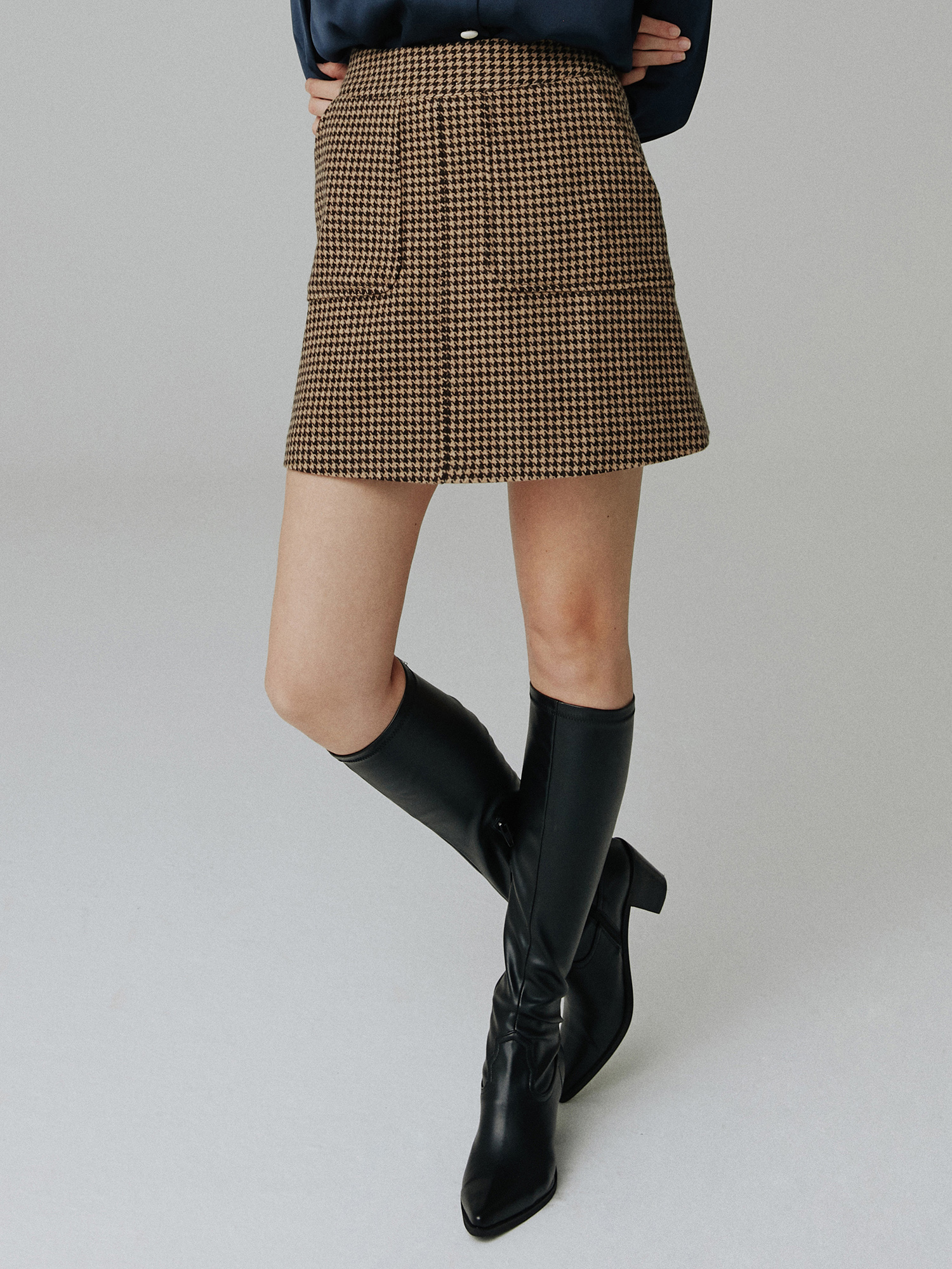 Wool check skirt_brown