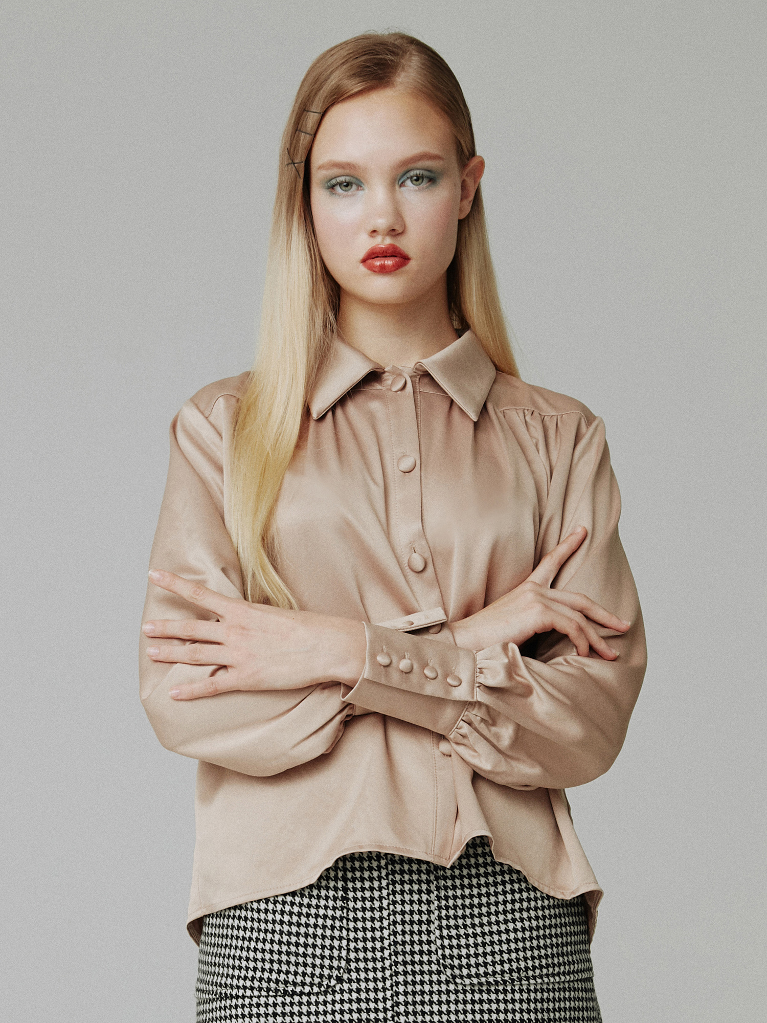 Satin shirring blouse_beige