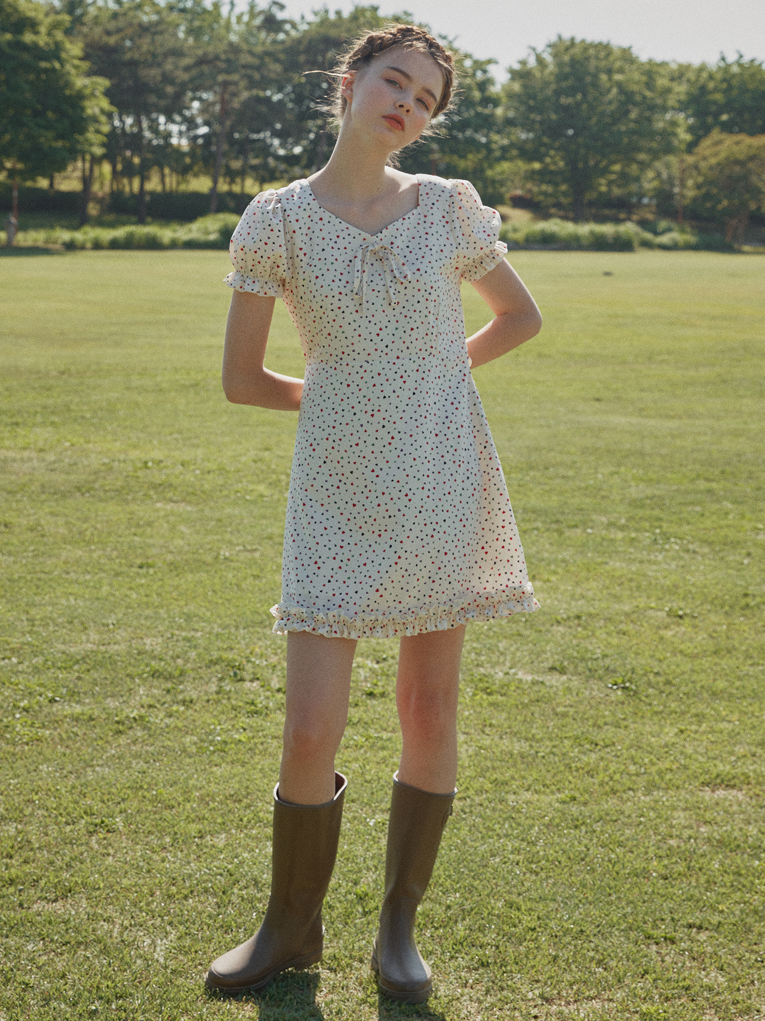 [SOLD OUT] Heart pattern one-piece_ivory