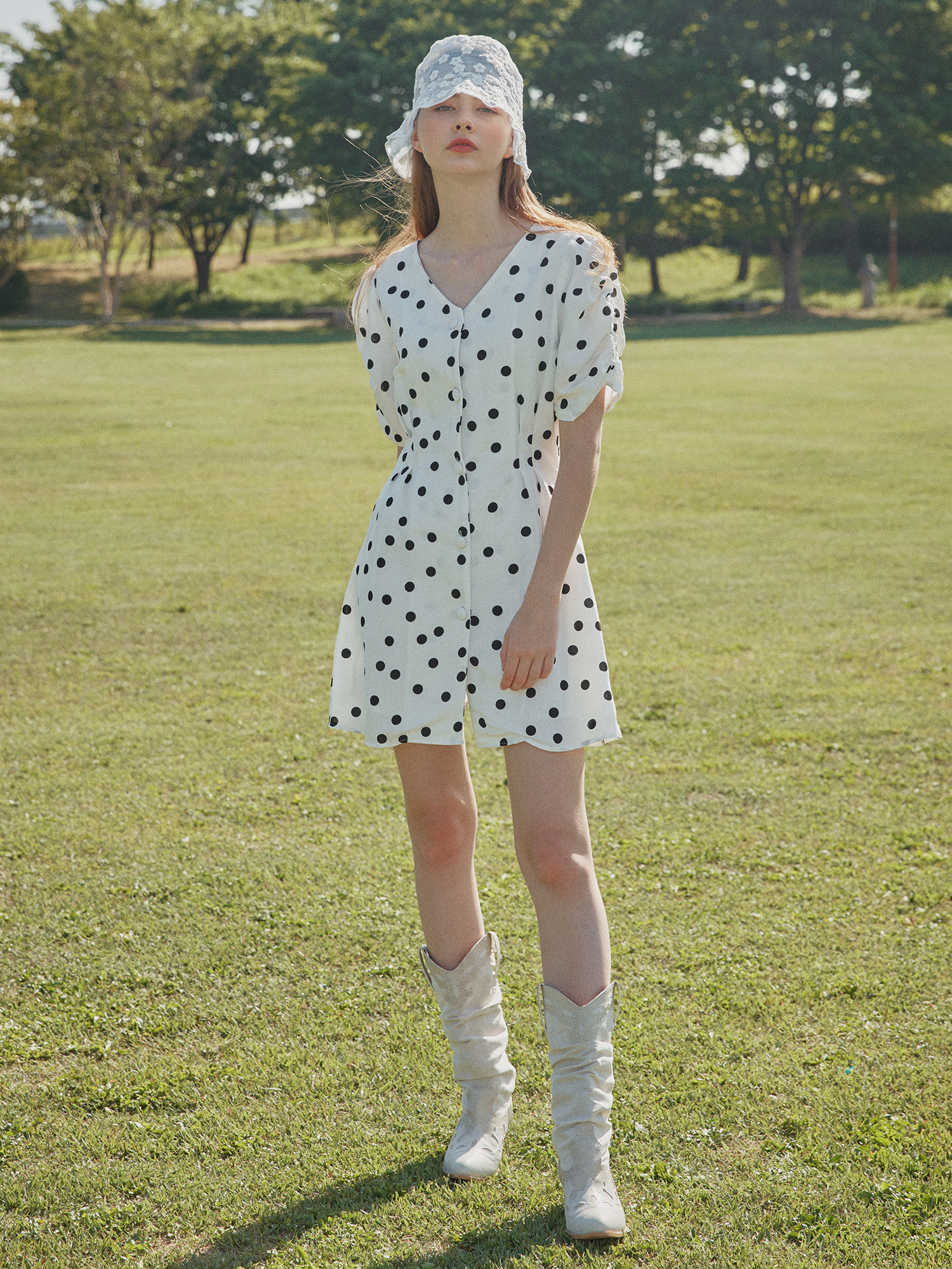 [SOLD OUT] V-neck dot one-piece_white