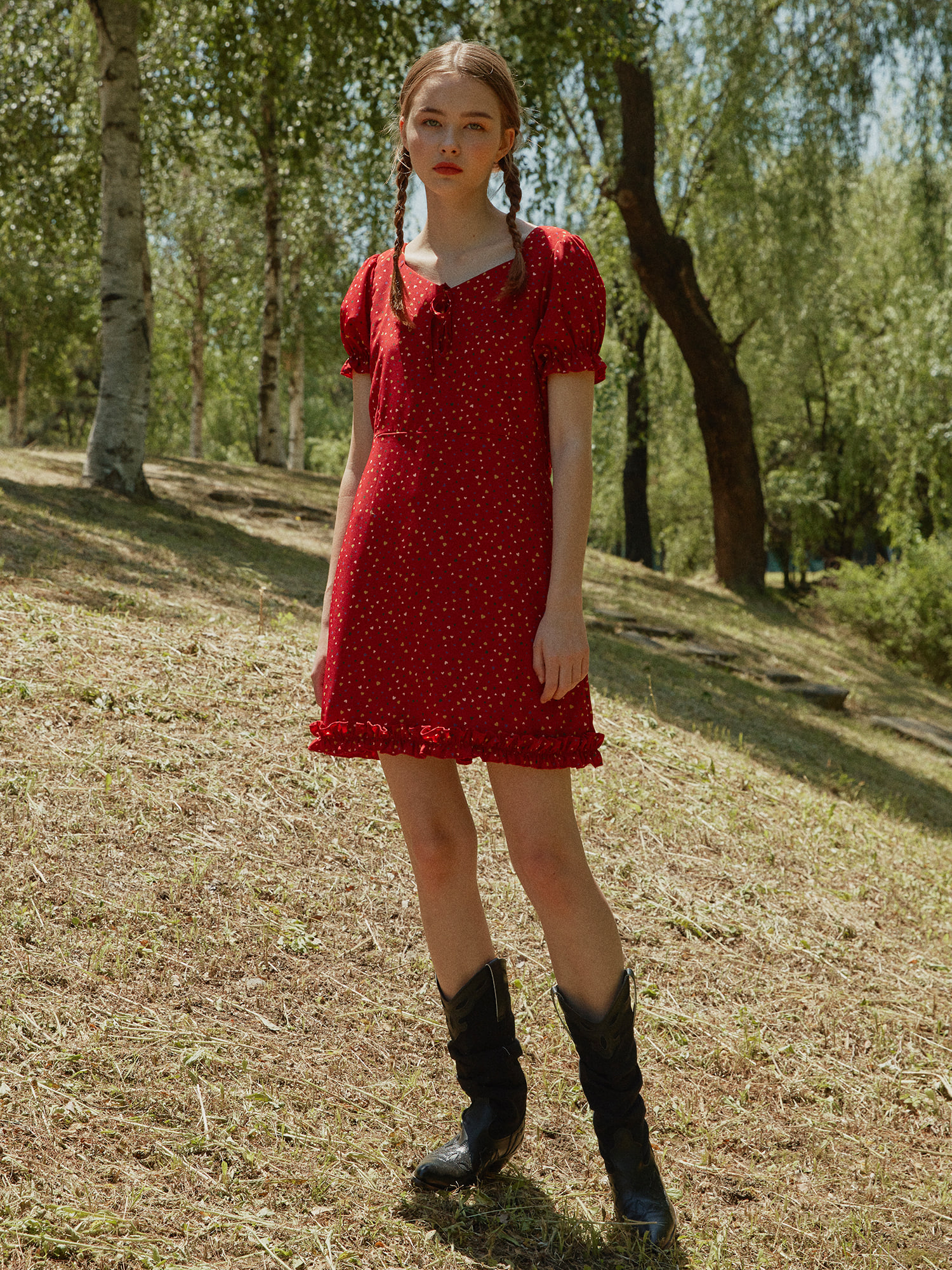 [SOLD OUT] Heart pattern one-piece_red