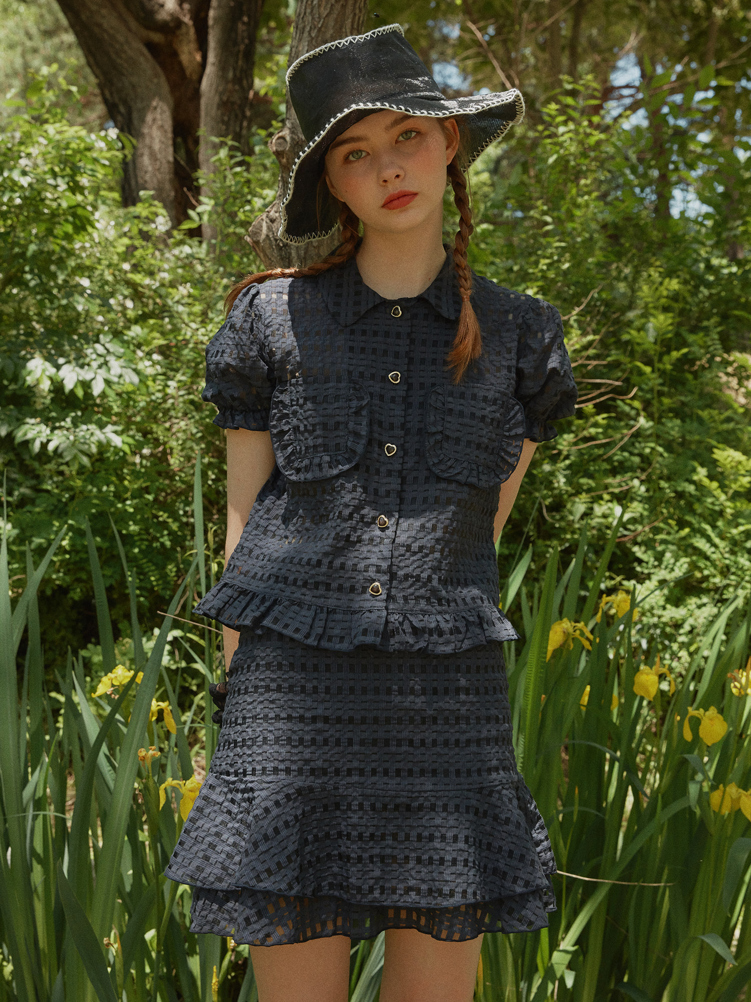 [SET] Heart button check blouse_navy & Check layered skirt_navy