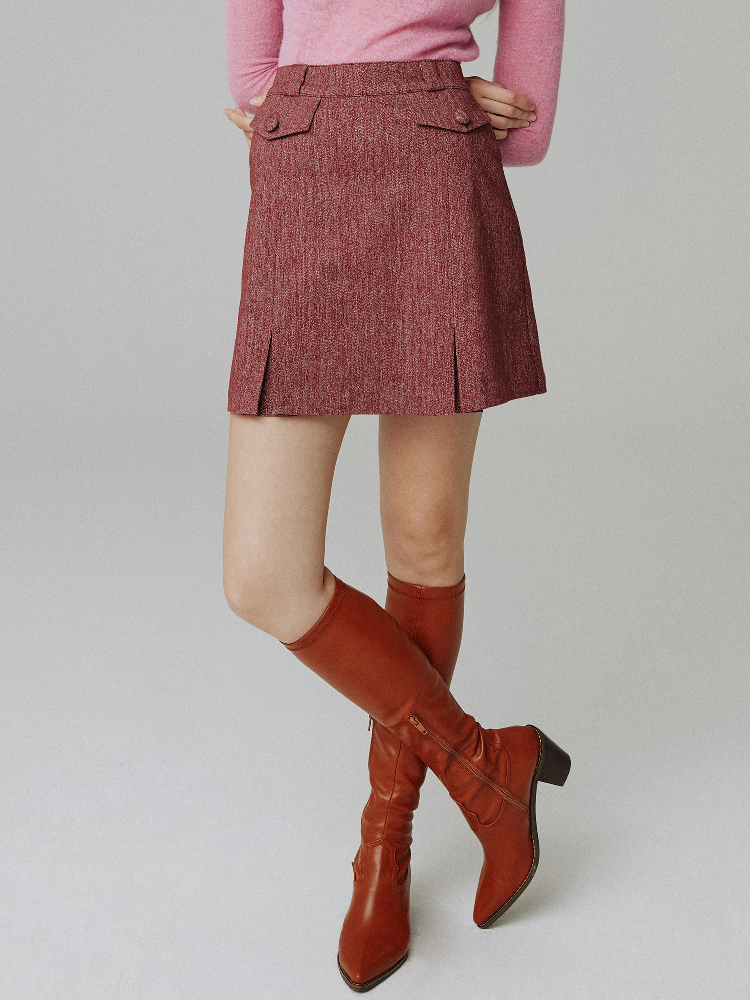 Herringbone skirt_wine