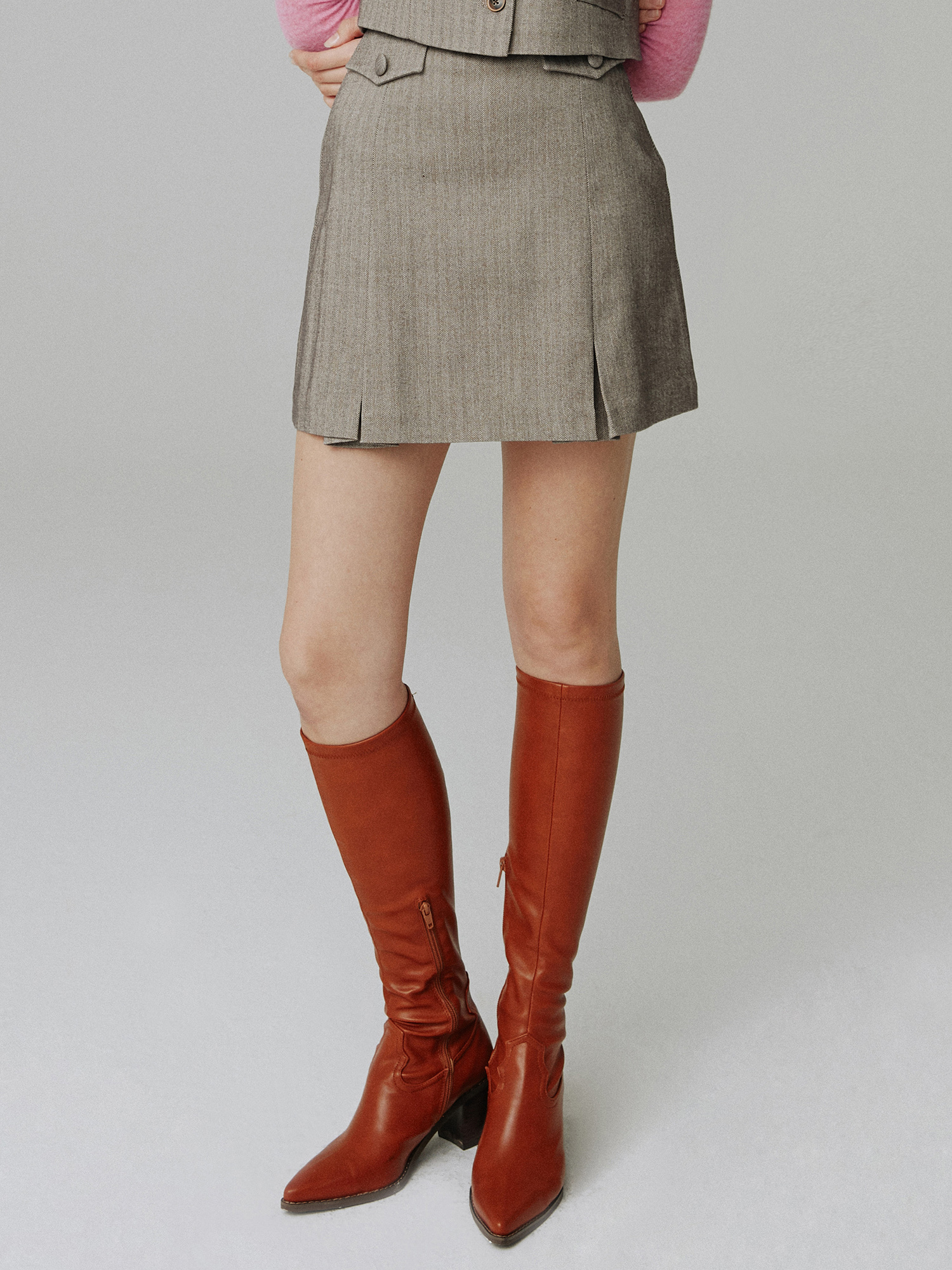 Herringbone skirt_brown