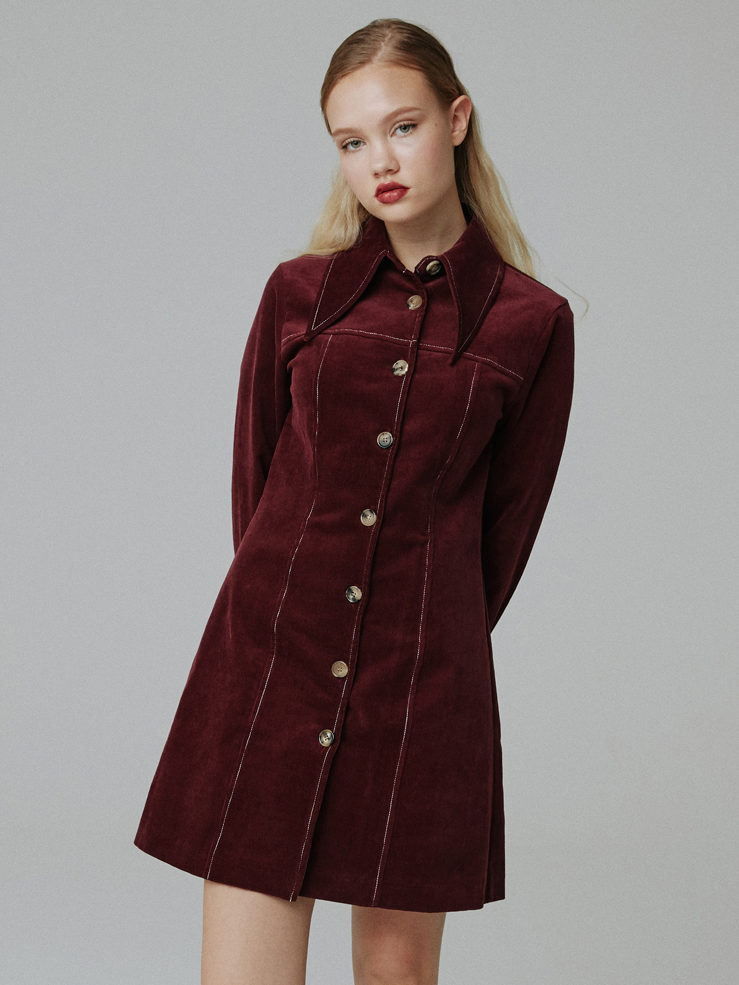 [SOLD OUT] Corduroy stitch one-piece_wine