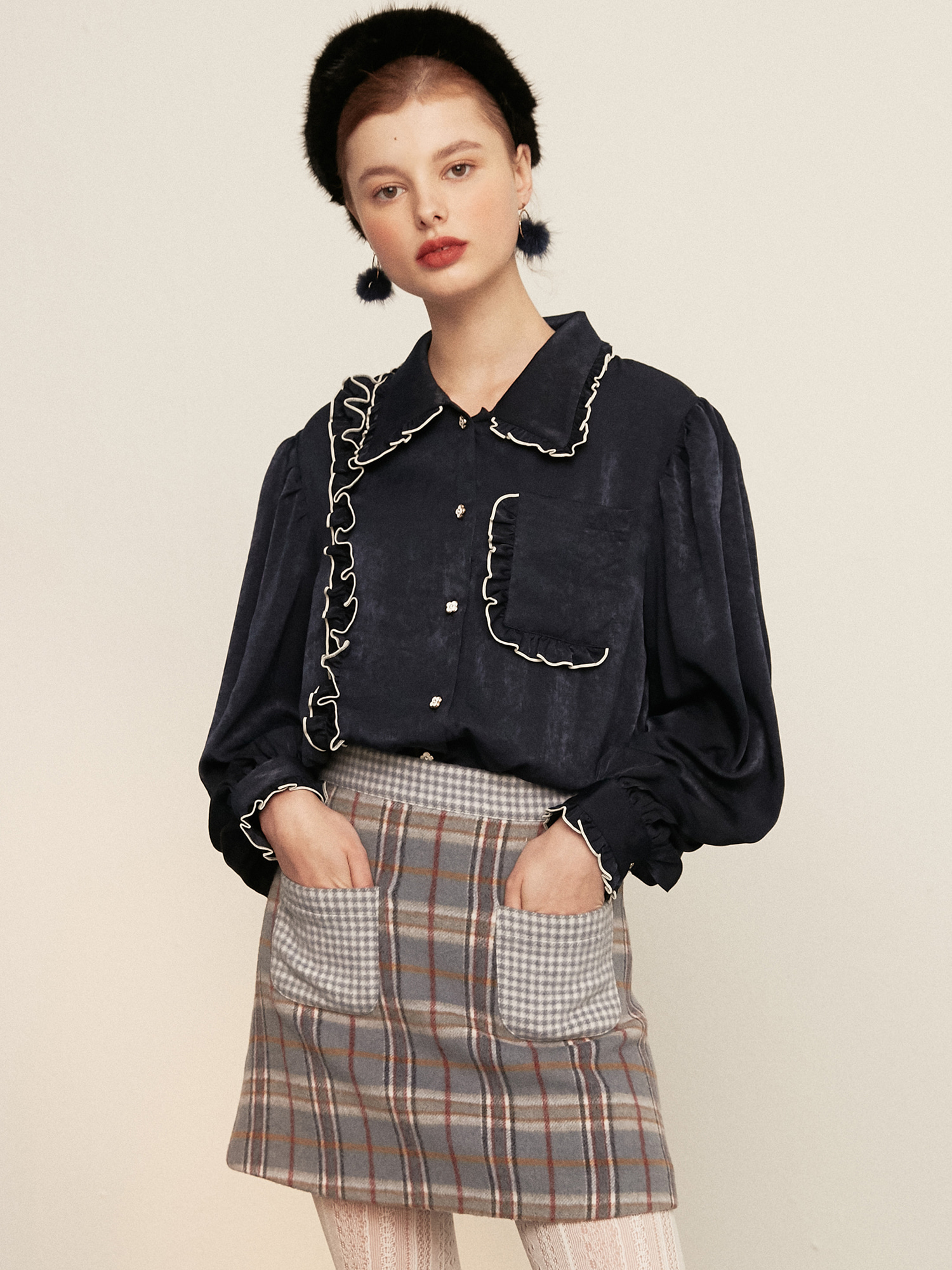 pocket ruffle blouse_navy
