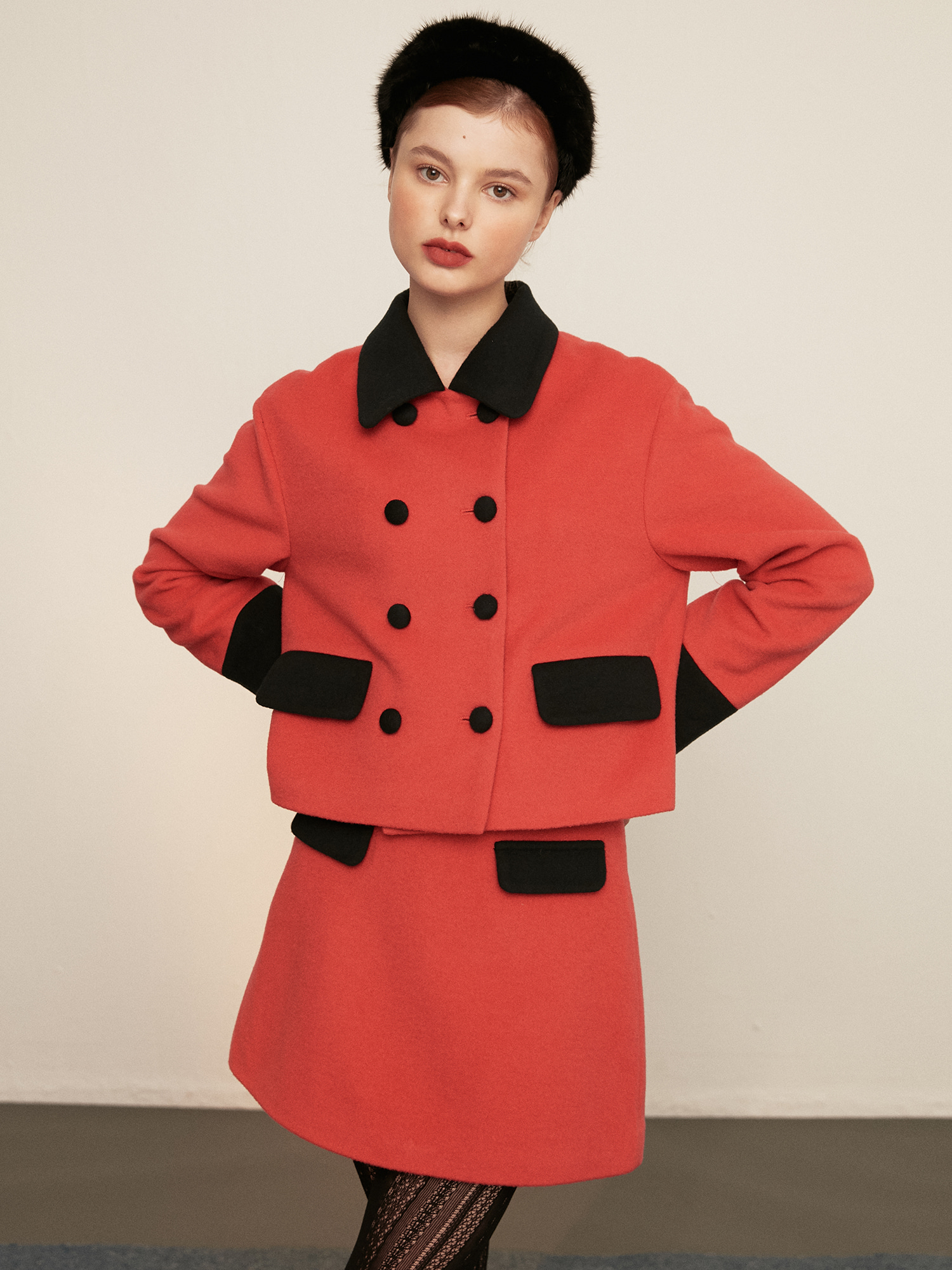 double button wool jacket_red