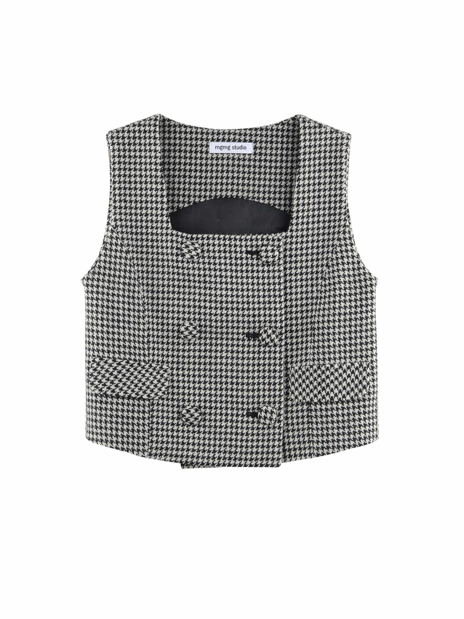 Wool check vest_black