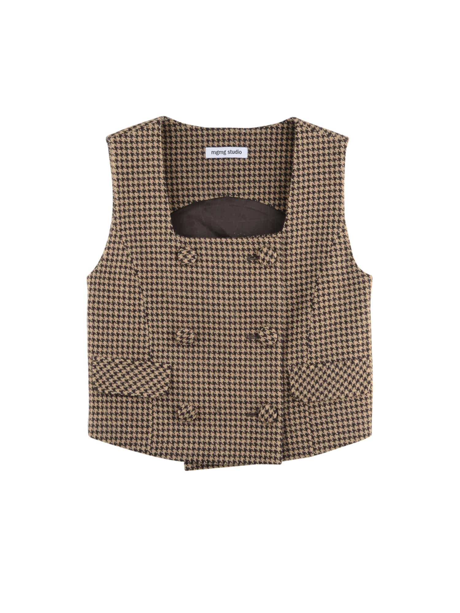 Wool check vest_brown