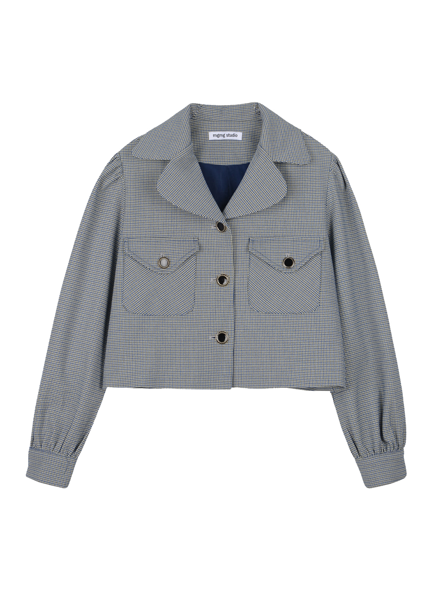 Houndtooth check shirring jacket_blue