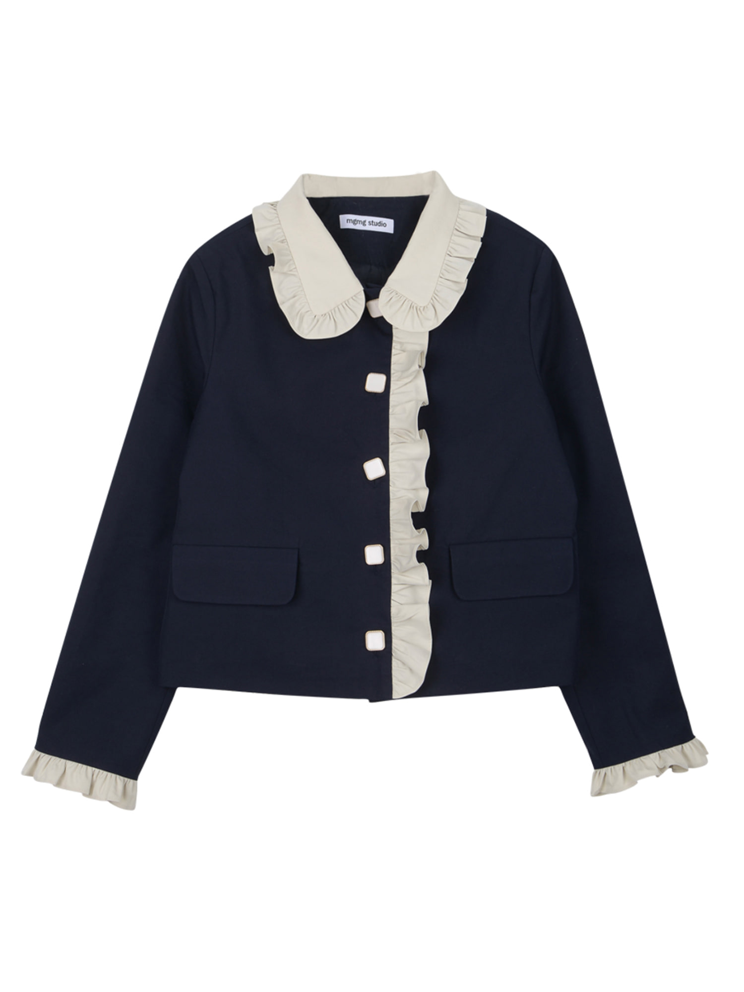 Frill trench jacket_navy
