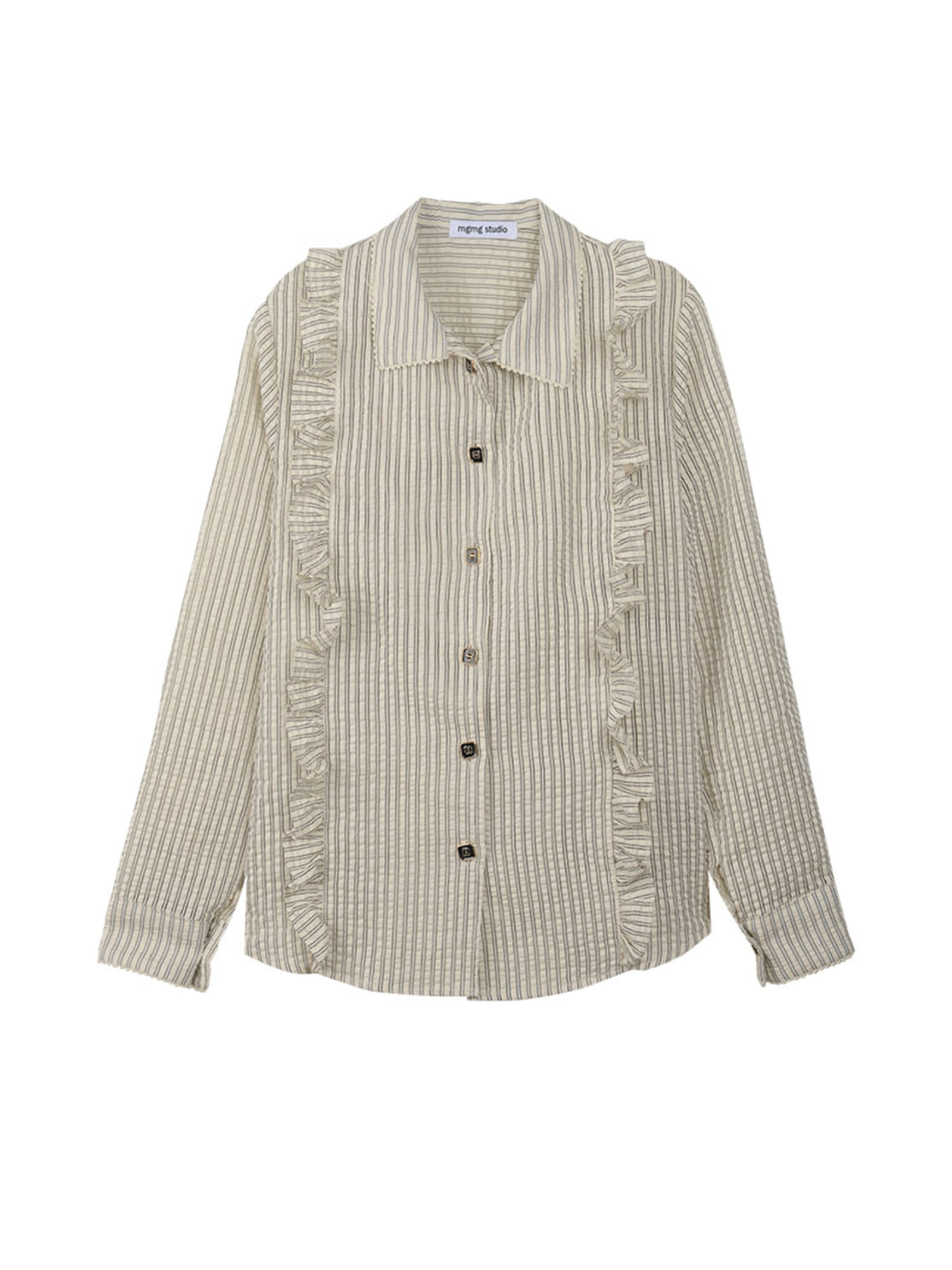 square button blouse_ivory