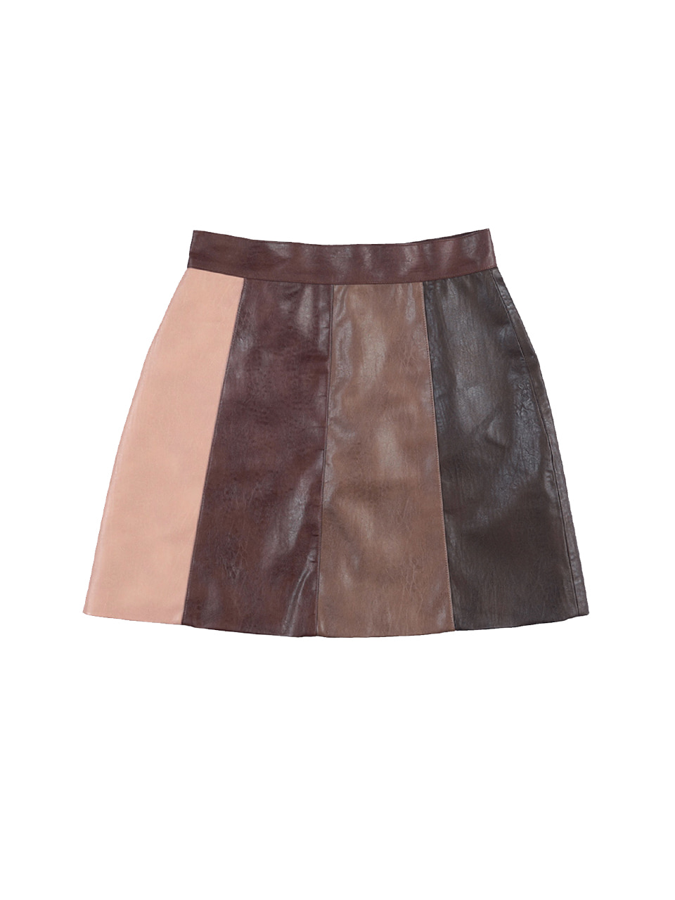 mgmg artificial leather skirt_dark brown