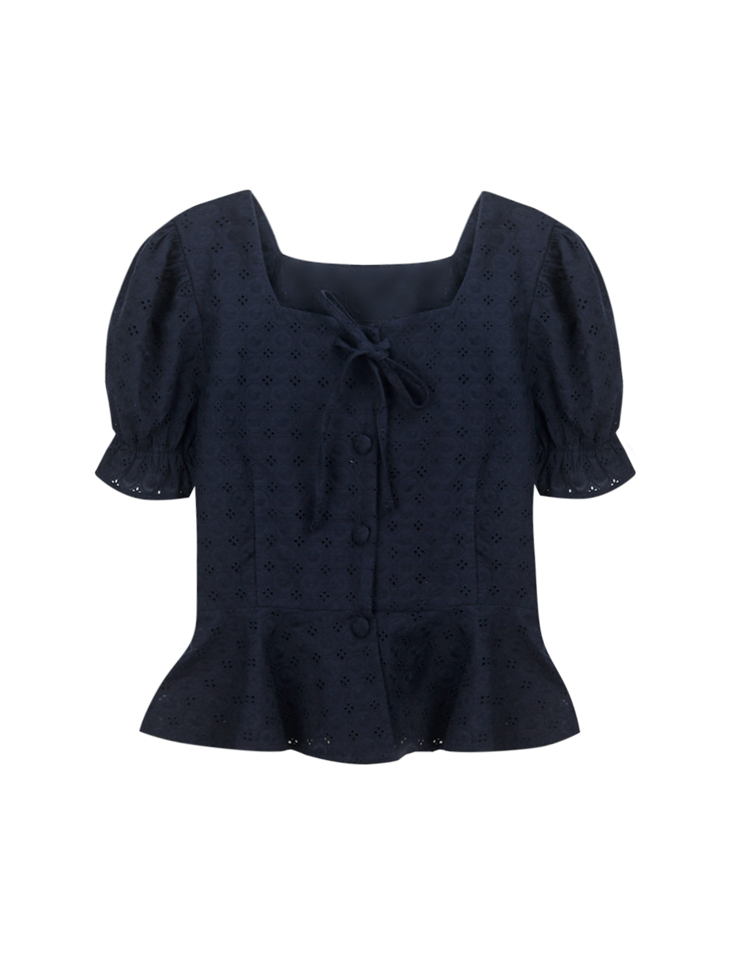 Lace flare blouse_navy