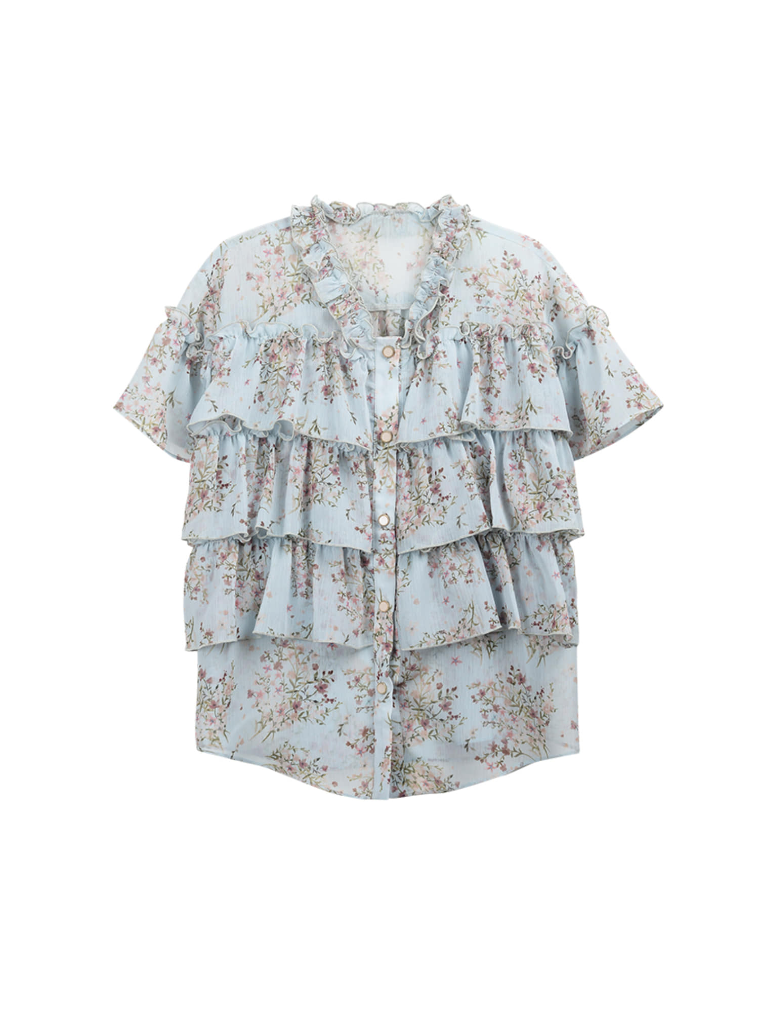 V-neck flower frill blouse_skyblue